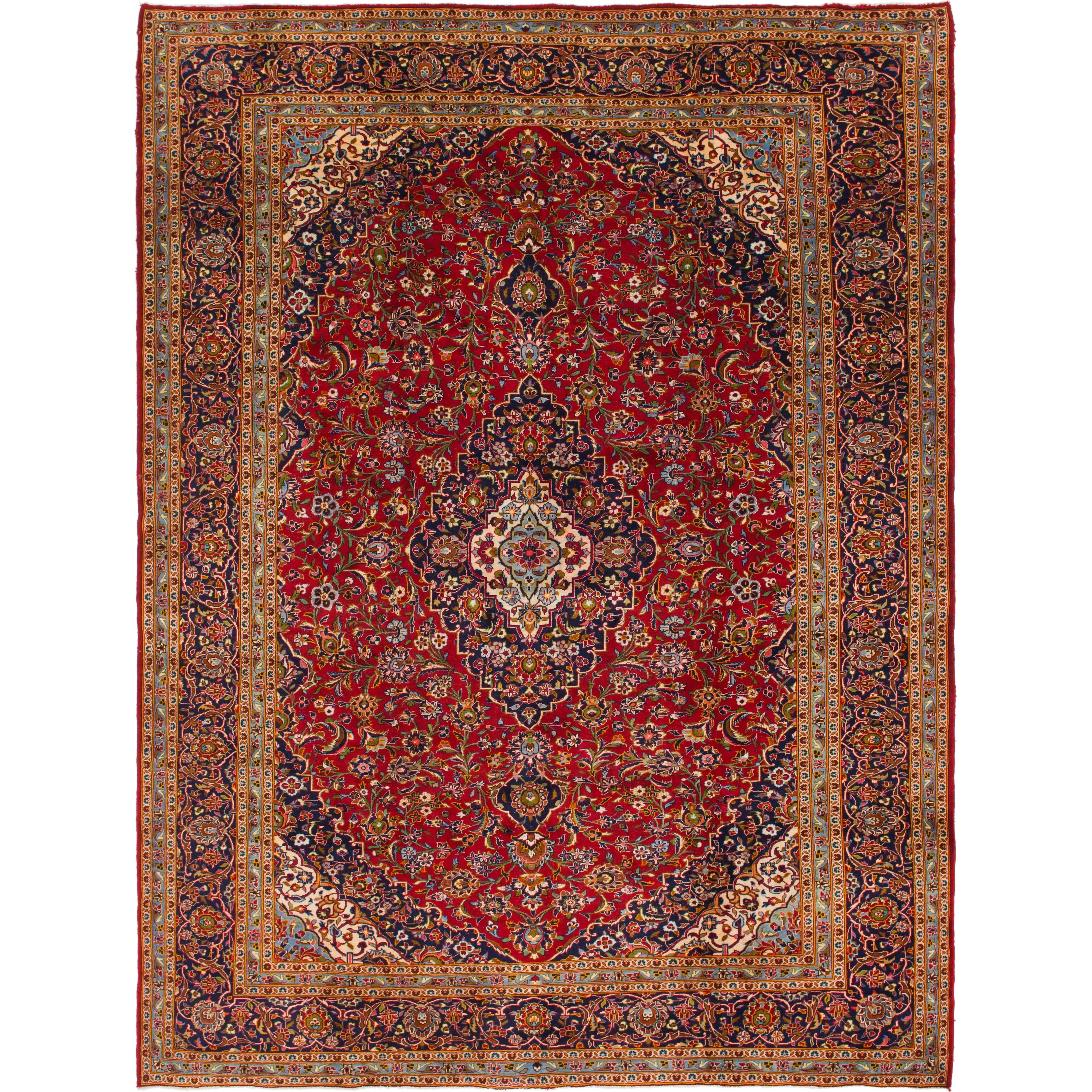 Hand Knotted Kashan Semi Antique Wool Area Rug - 9 10 x 13 2 (Red - 9 10 x 13 2)