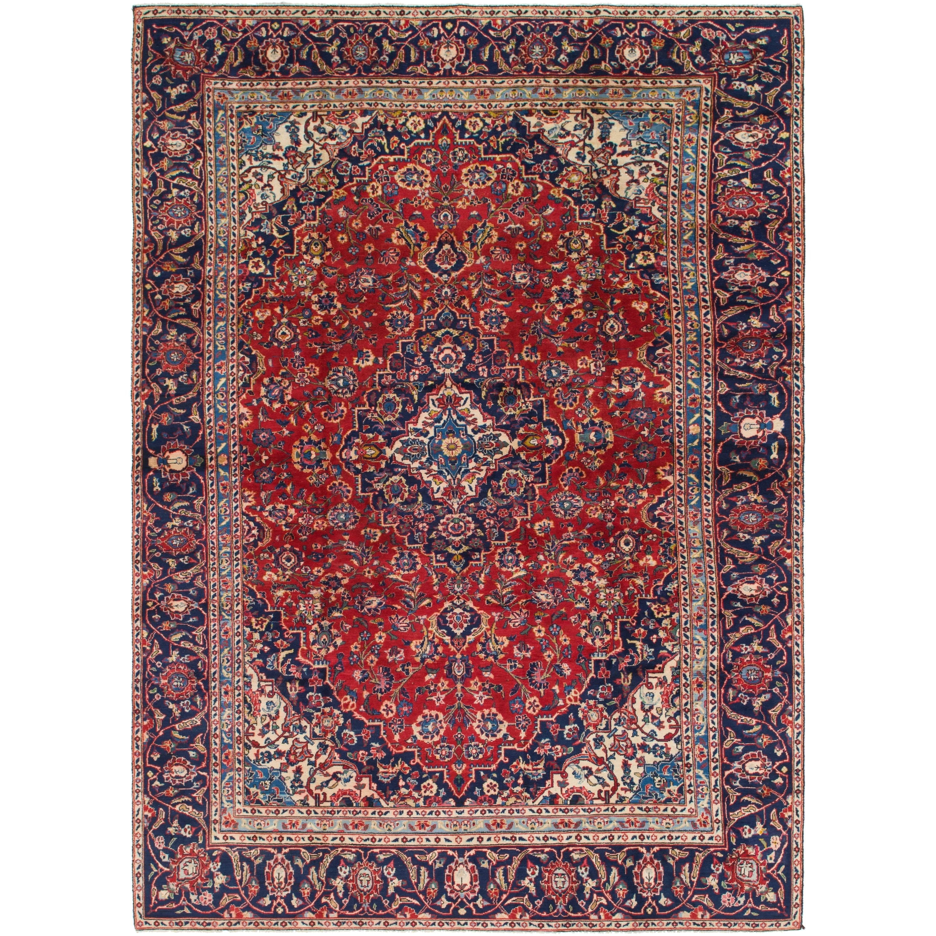 Hand Knotted Kashan Semi Antique Wool Area Rug - 8 8 x 12 2 (Red - 8 8 x 12 2)