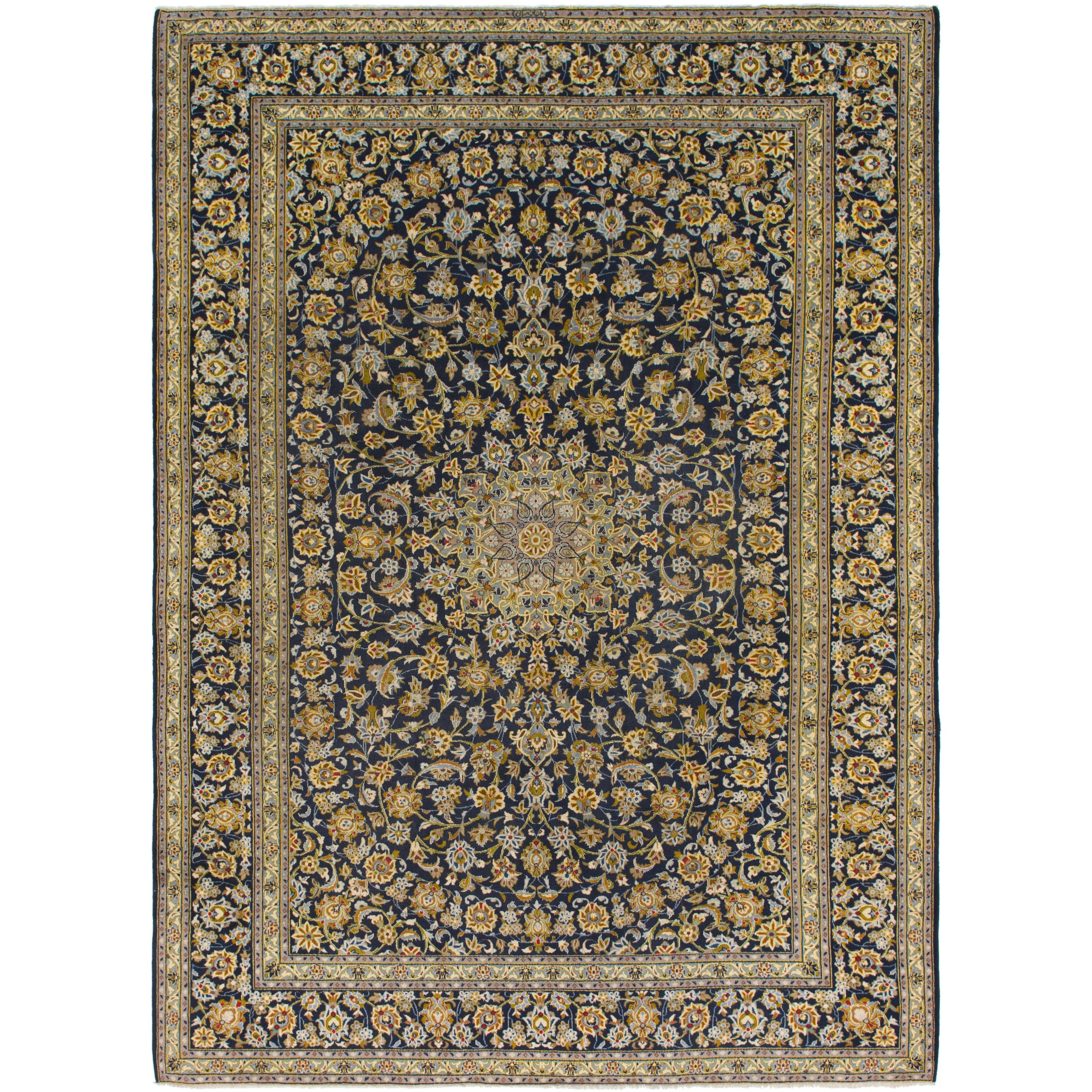 Hand Knotted Kashan Semi Antique Wool Area Rug - 9 9 x 13 7 (Navy blue - 9 9 x 13 7)