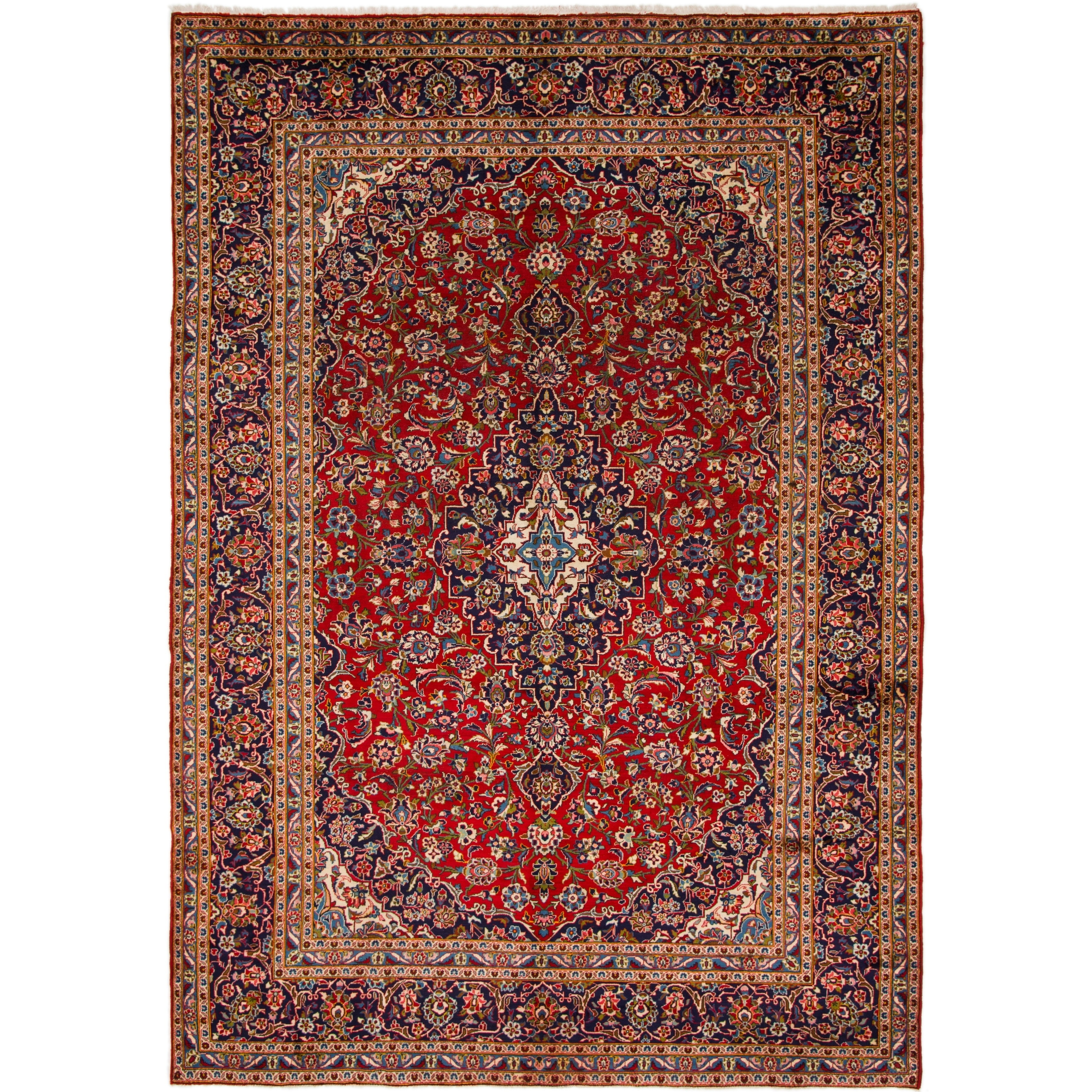 Hand Knotted Kashan Semi Antique Wool Area Rug - 9 7 x 13 7 (Red - 9 7 x 13 7)