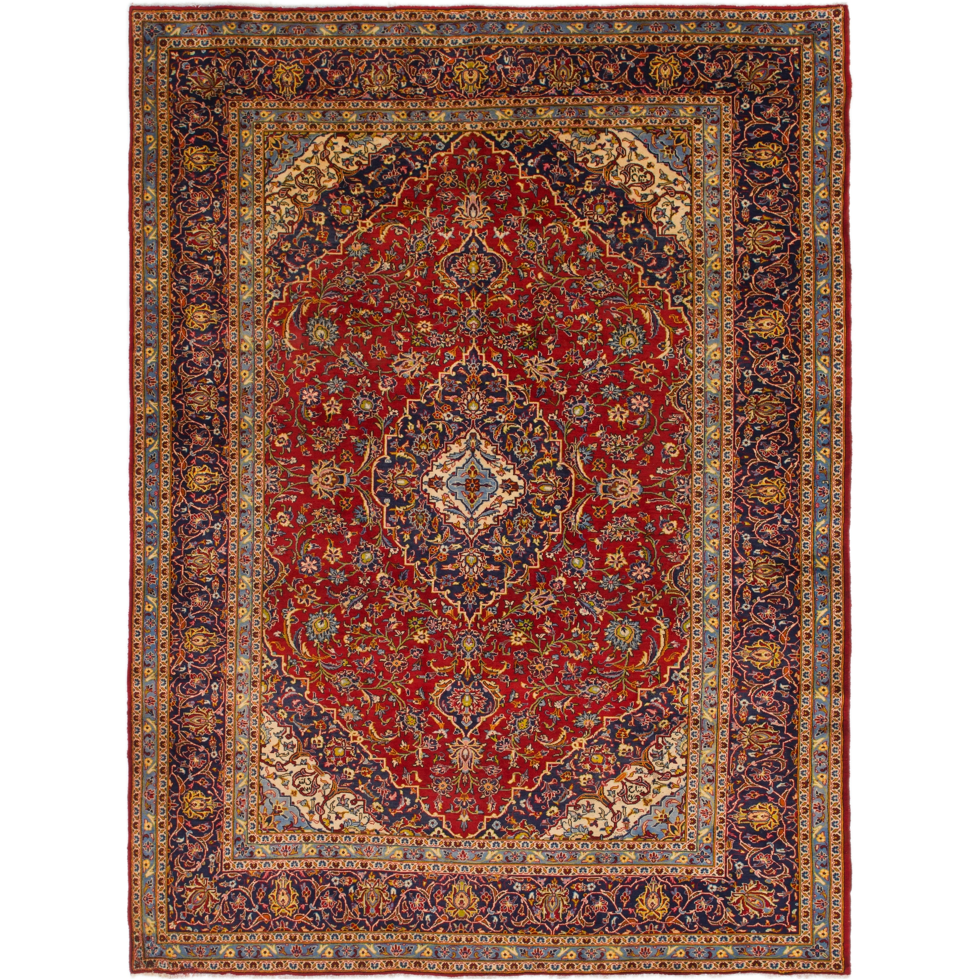 Hand Knotted Kashan Semi Antique Wool Area Rug - 9 7 x 12 10 (Red - 9 7 x 12 10)