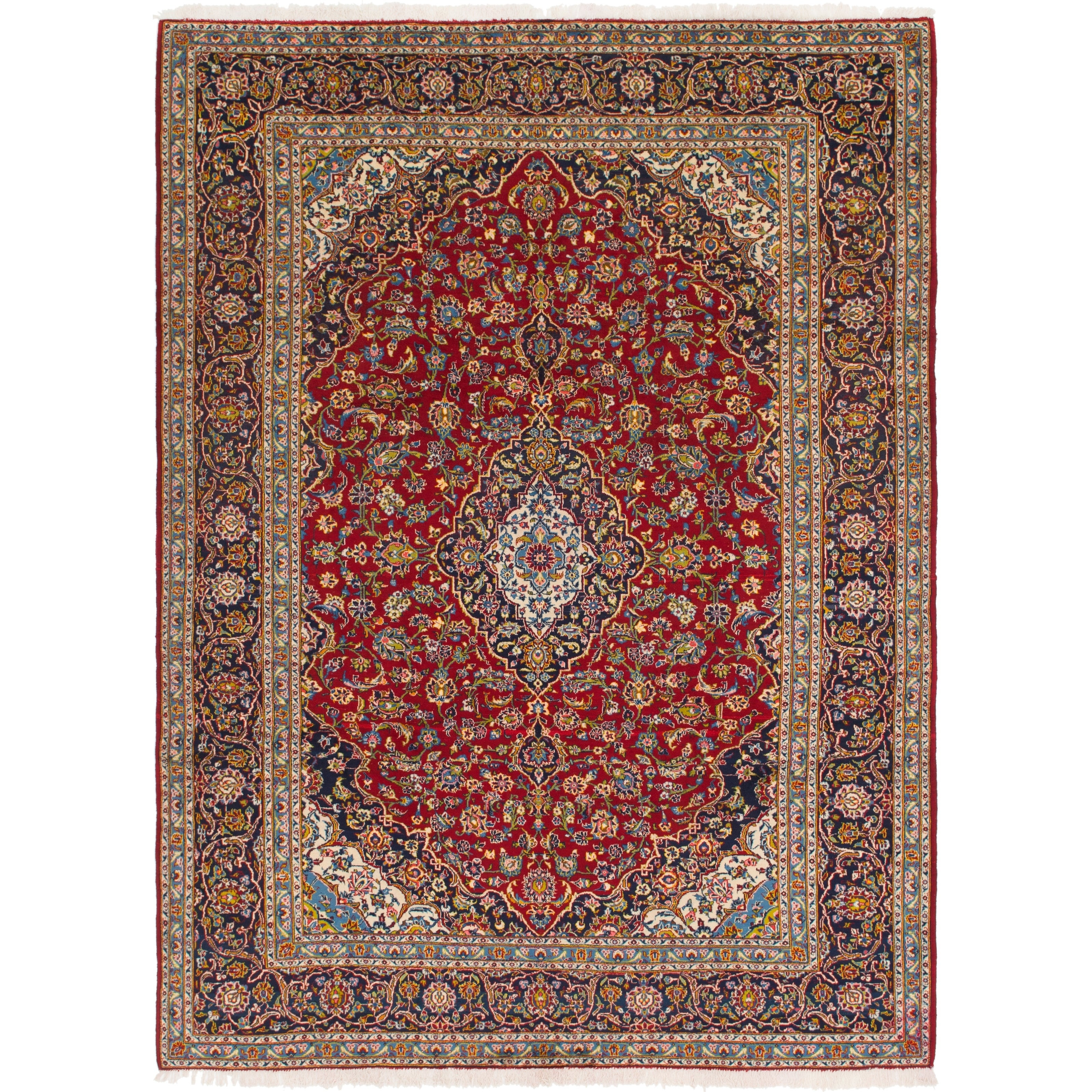 Hand Knotted Kashan Semi Antique Wool Area Rug - 9 2 x 12 8 (Red - 9 2 x 12 8)