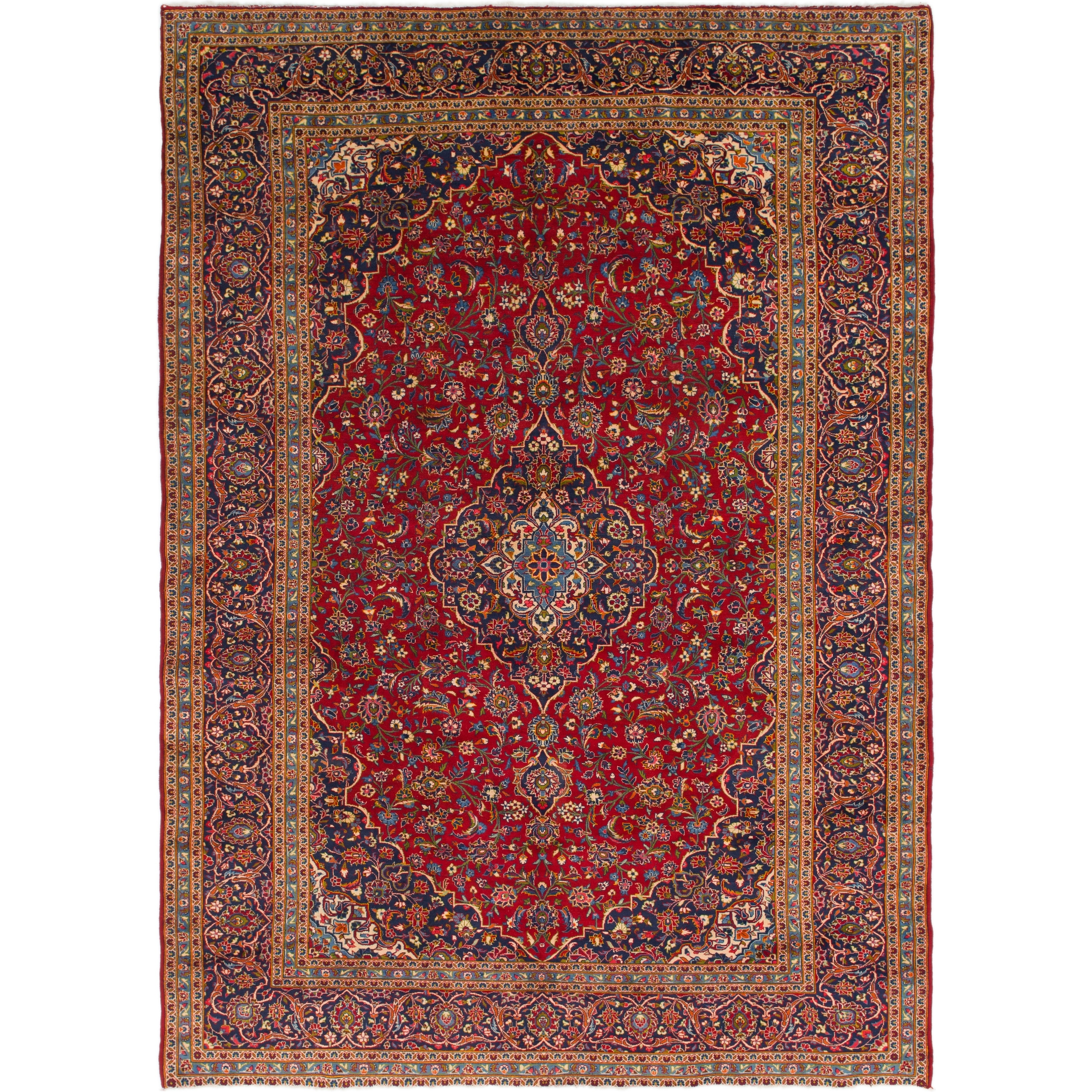 Hand Knotted Kashan Wool Area Rug - 9 8 x 13 7 (Red - 9 8 x 13 7)