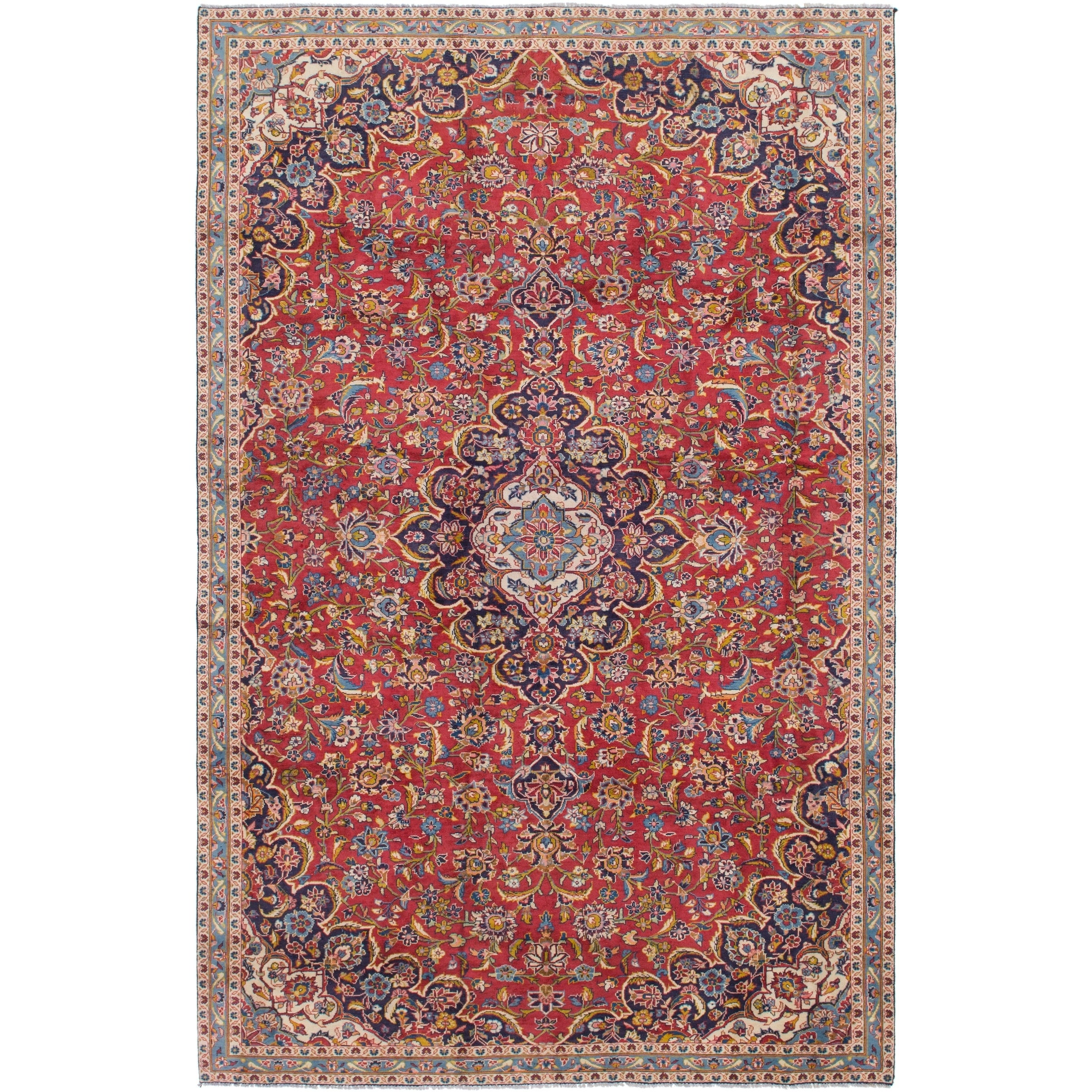 Hand Knotted Kashan Semi Antique Wool Area Rug - 6 10 x 10 10 (Red - 6 10 x 10 10)