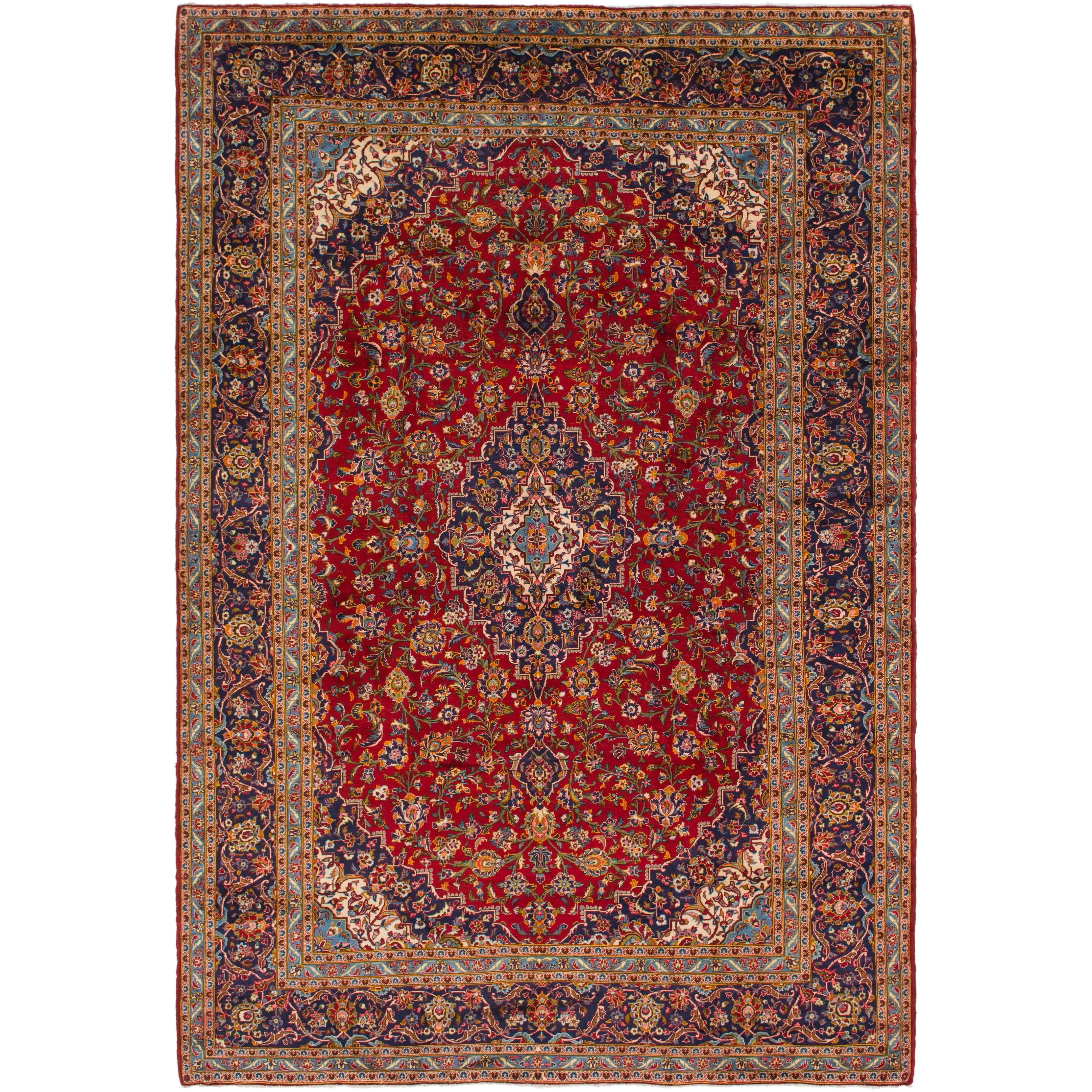 Hand Knotted Kashan Semi Antique Wool Area Rug - 9 8 x 14 3 (Red - 9 8 x 14 3)