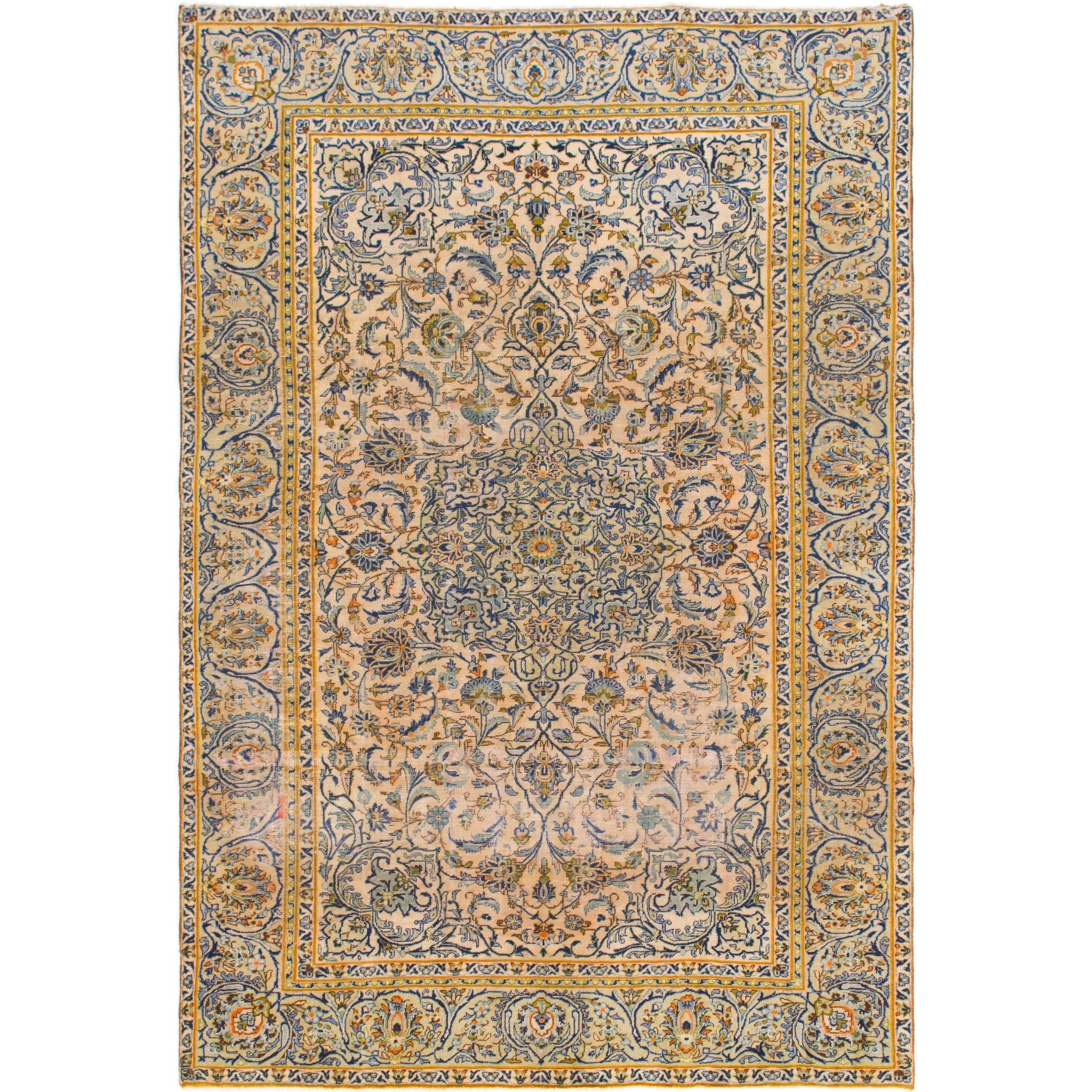 Hand Knotted Kashan Antique Wool Area Rug - 7 7 x 11 2 (Ivory - 7 7 x 11 2)