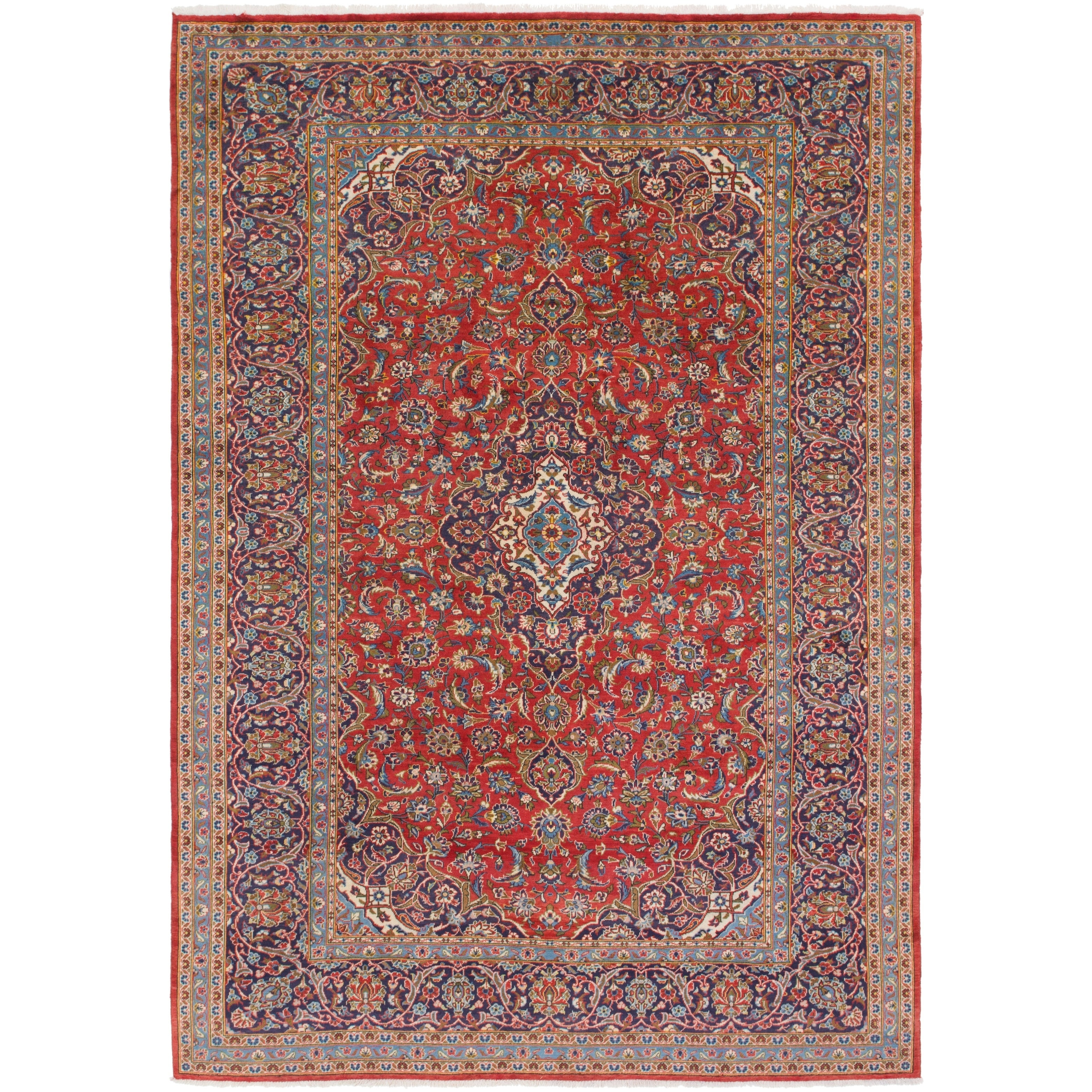 Hand Knotted Kashan Antique Wool Area Rug - 9 x 13 2 (Red - 9 x 13 2)
