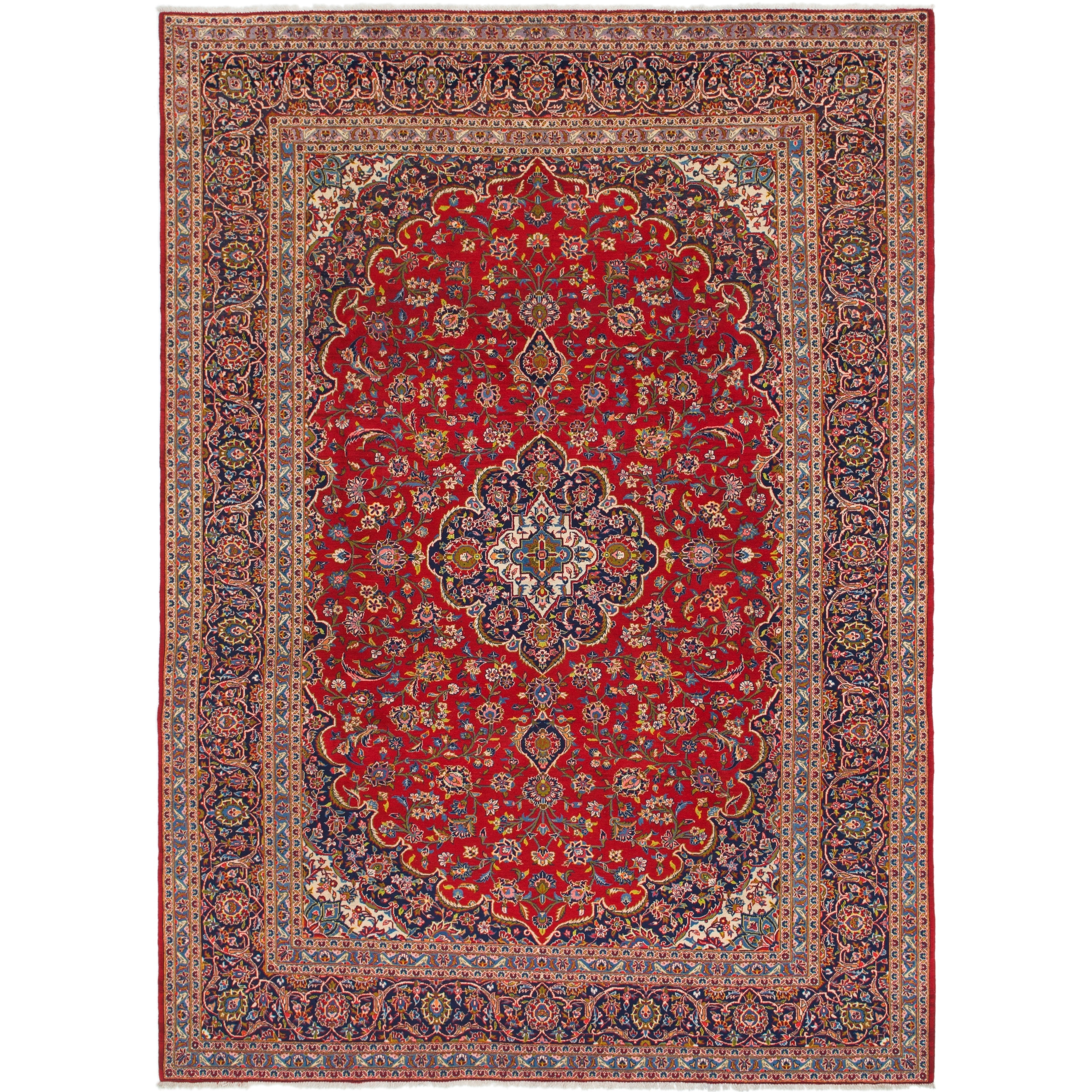 Hand Knotted Kashan Semi Antique Wool Area Rug - 9 8 x 13 (Red - 9 8 x 13)