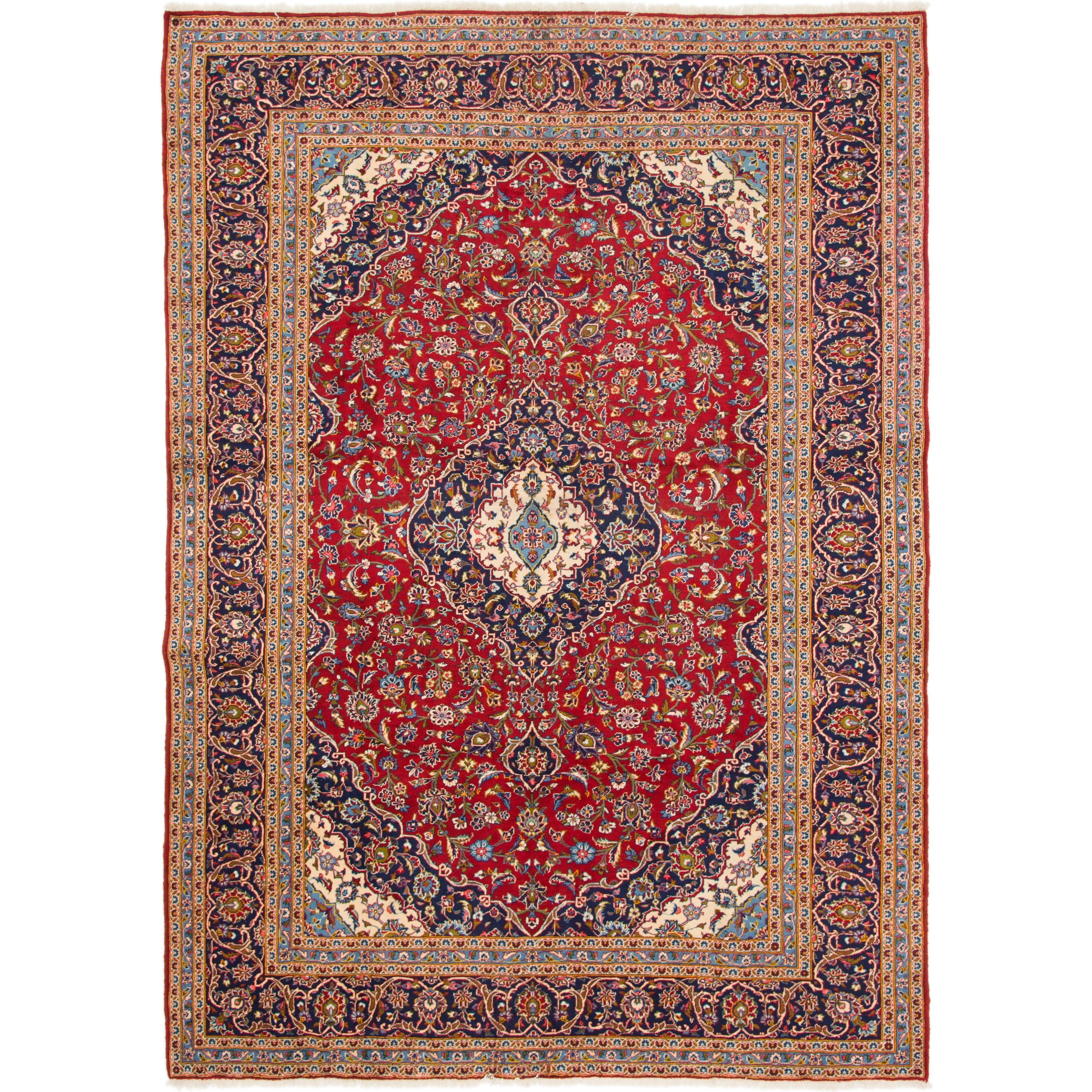 Hand Knotted Kashan Wool Area Rug - 9 8 x 13 6 (Red - 9 8 x 13 6)