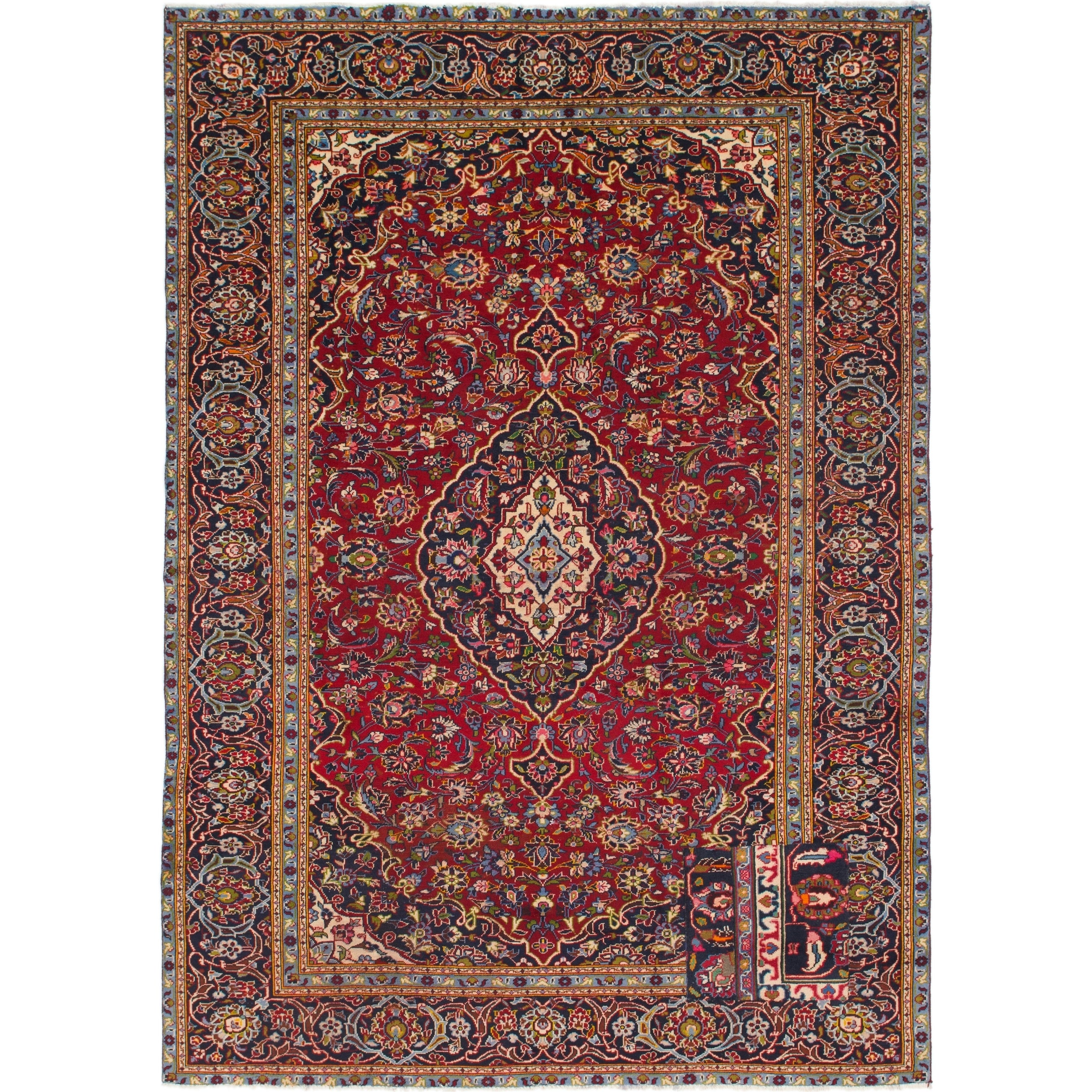 Hand Knotted Kashan Semi Antique Wool Area Rug - 7 6 x 10 9 (Red - 7 6 x 10 9)
