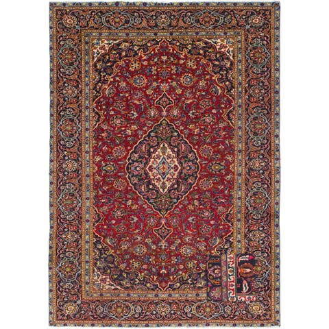 Hand Knotted Kashan Semi Antique Wool Area Rug - 7' 6 x 10' 9
