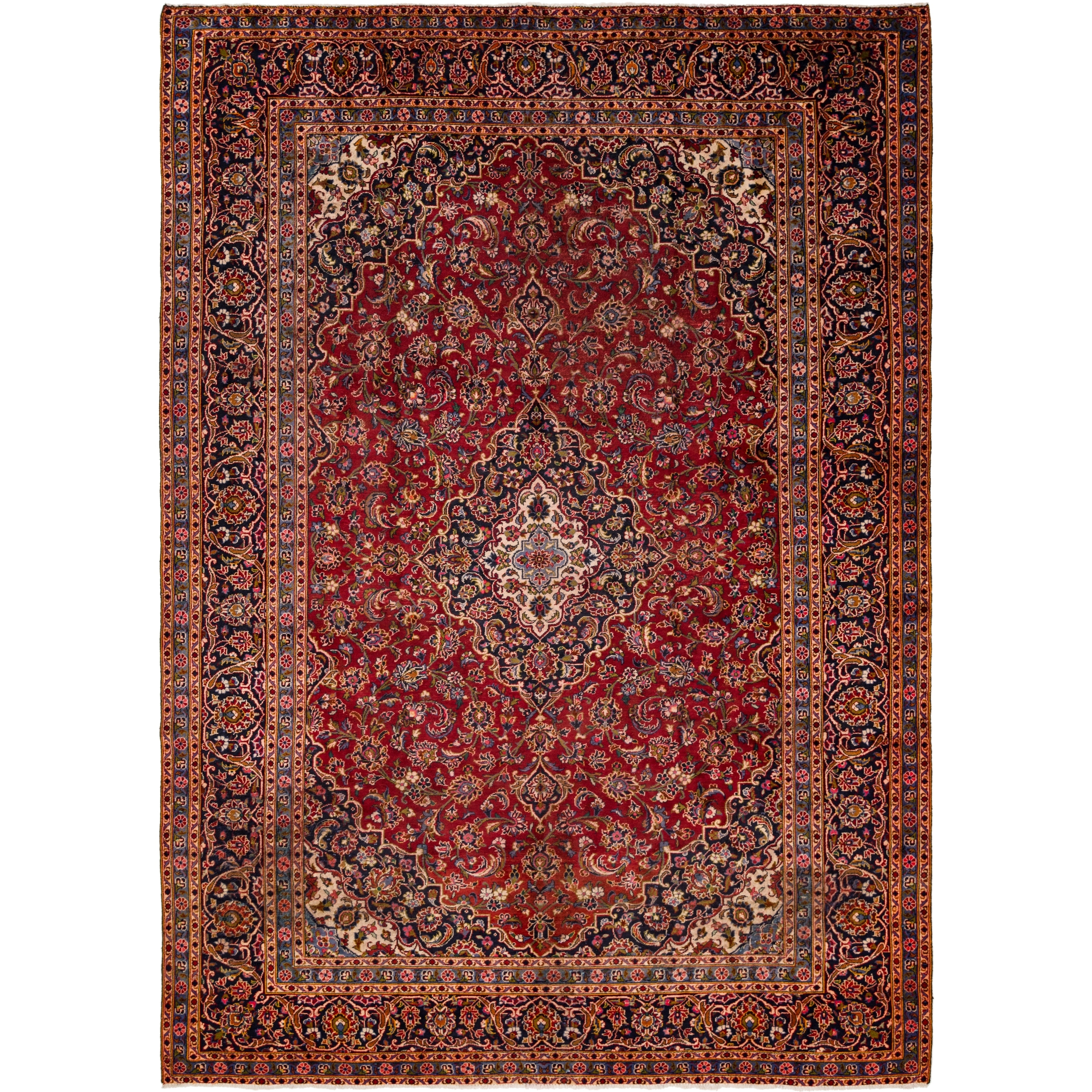 Hand Knotted Kashan Semi Antique Wool Area Rug - 9 6 x 13 4 (Red - 9 6 x 13 4)
