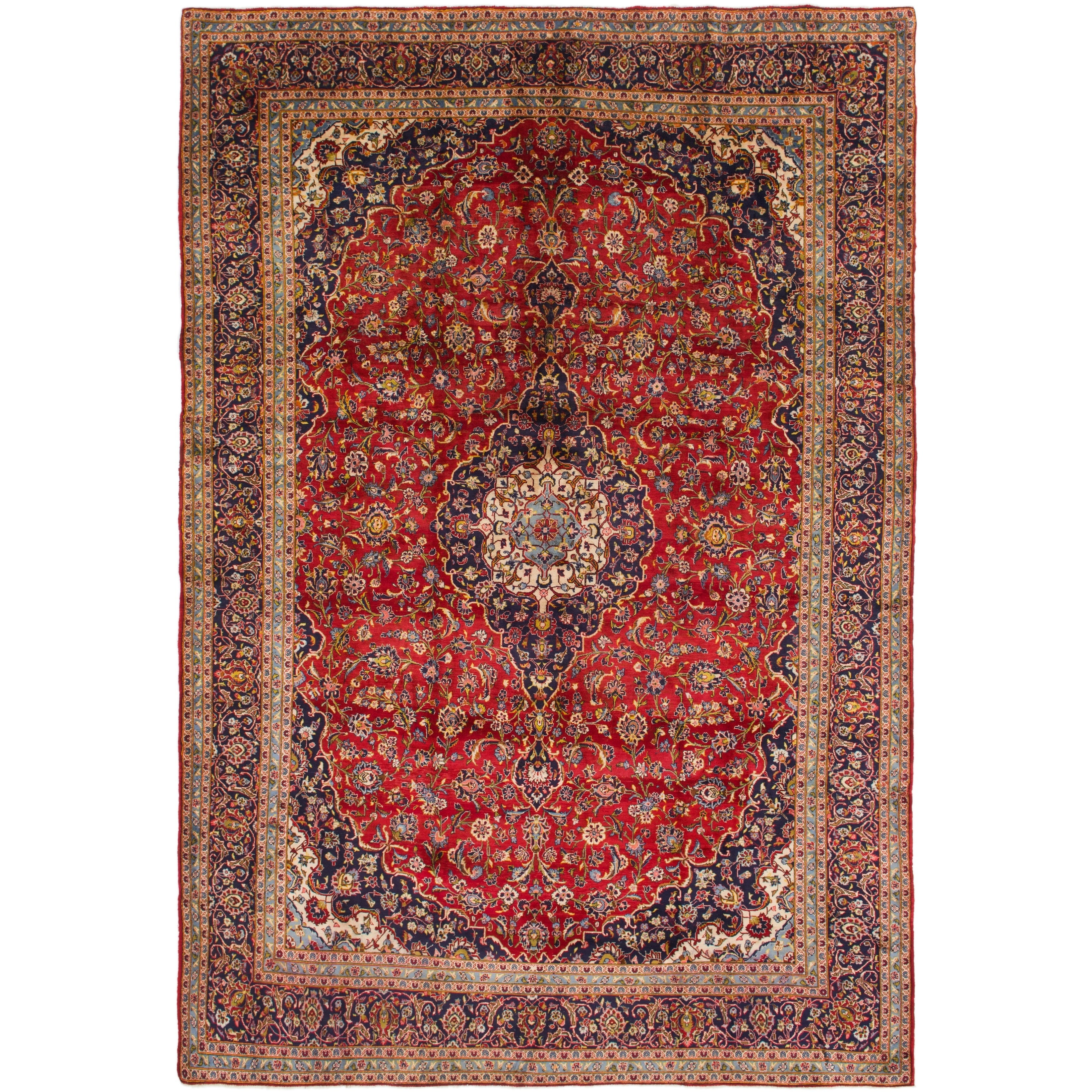 Hand Knotted Kashan Semi Antique Wool Area Rug - 9 10 x 14 3 (Red - 9 10 x 14 3)