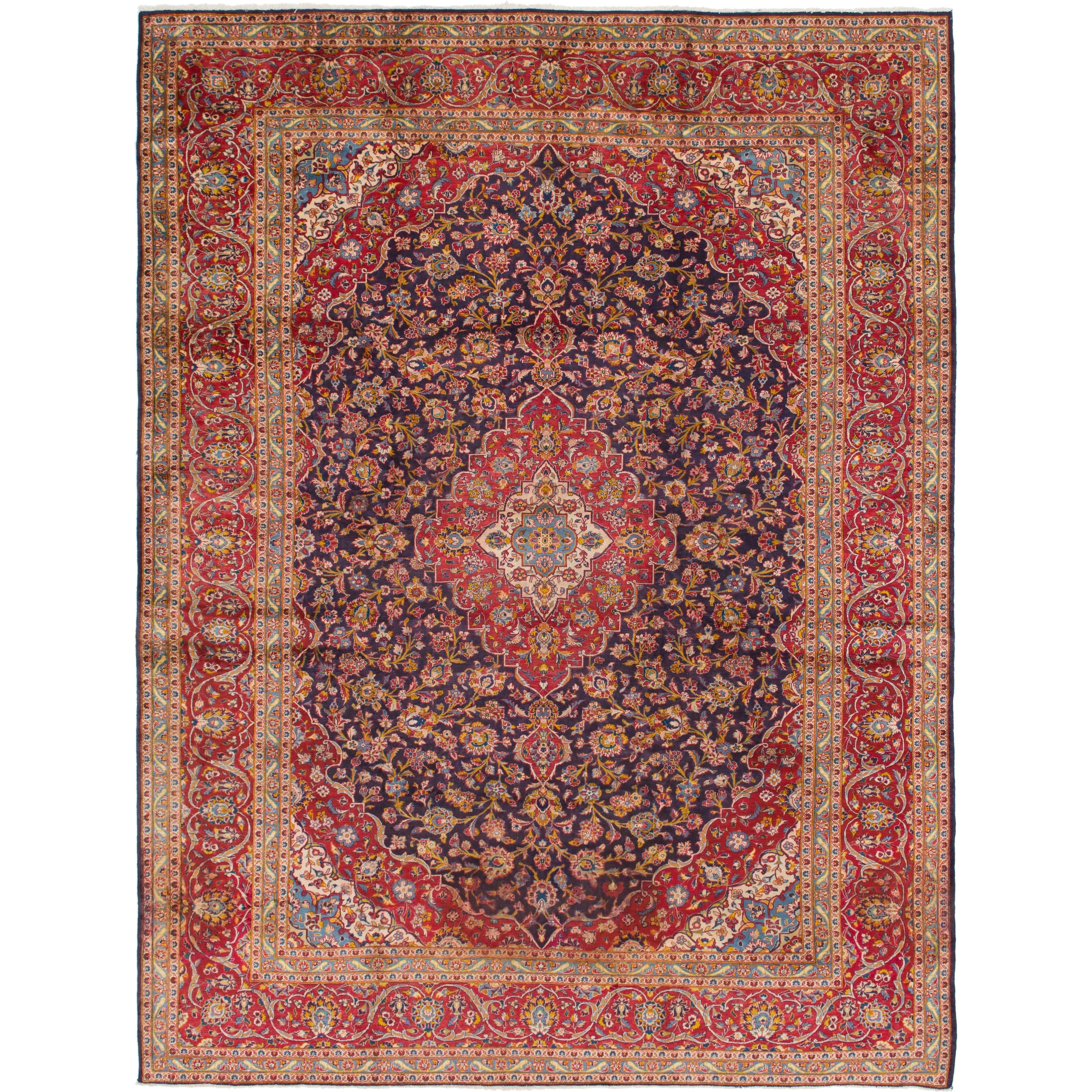 Hand Knotted Kashan Antique Wool Area Rug - 9 10 x 12 10 (Navy blue - 9 10 x 12 10)
