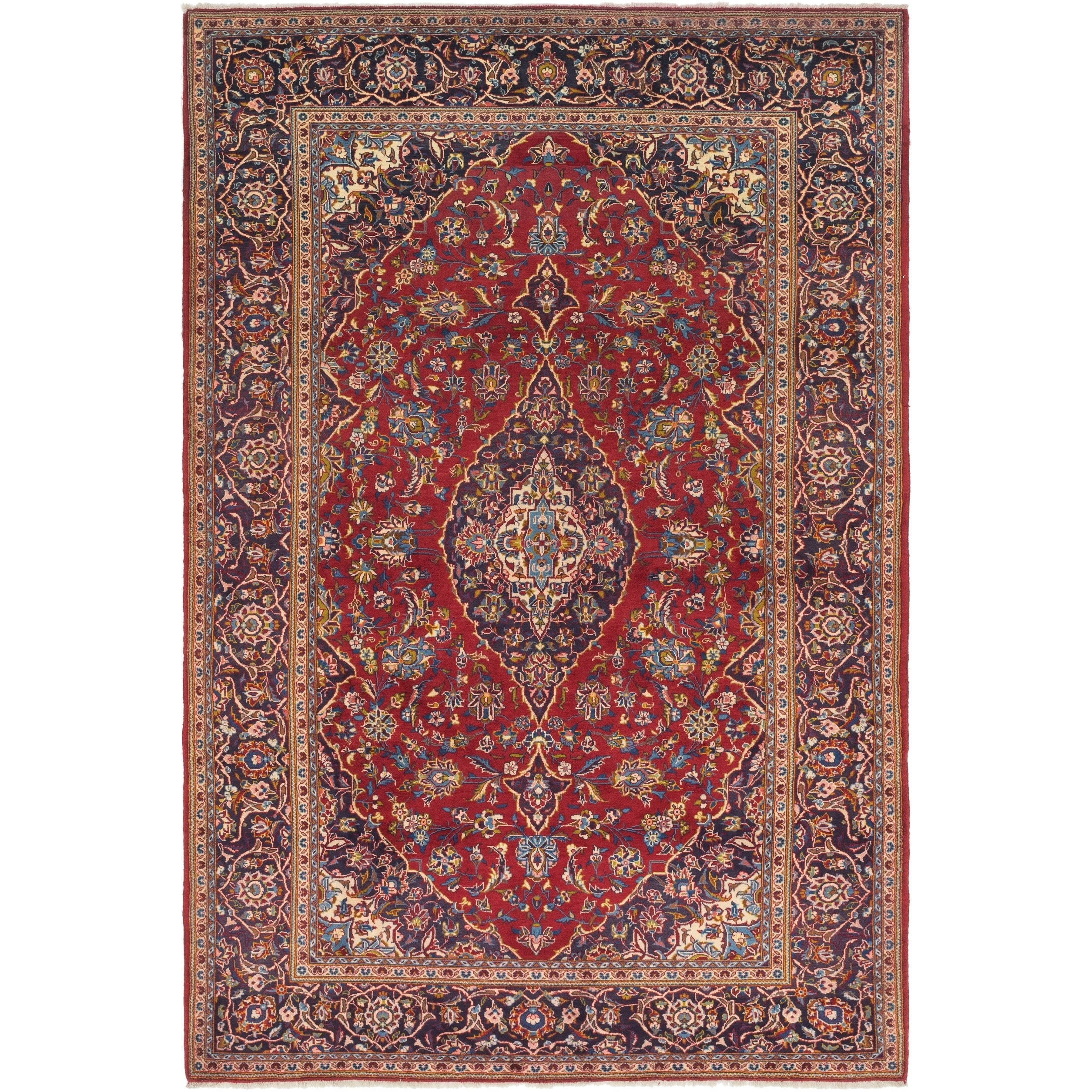 Hand Knotted Kashan Semi Antique Wool Area Rug - 7 x 10 3 (Red - 7 x 10 3)