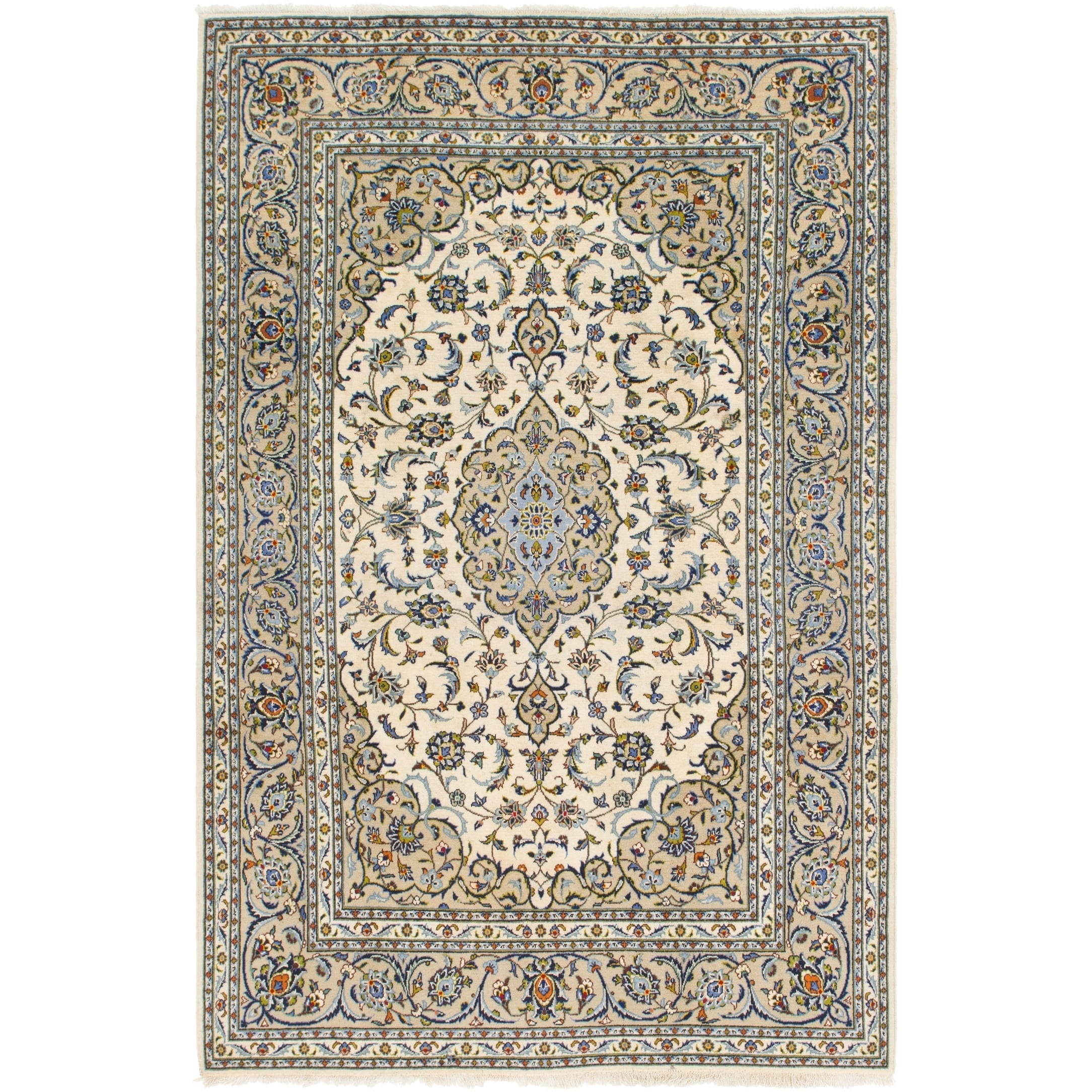 Hand Knotted Kashan Semi Antique Wool Area Rug - 6 4 x 9 8 (Cream - 6 4 x 9 8)