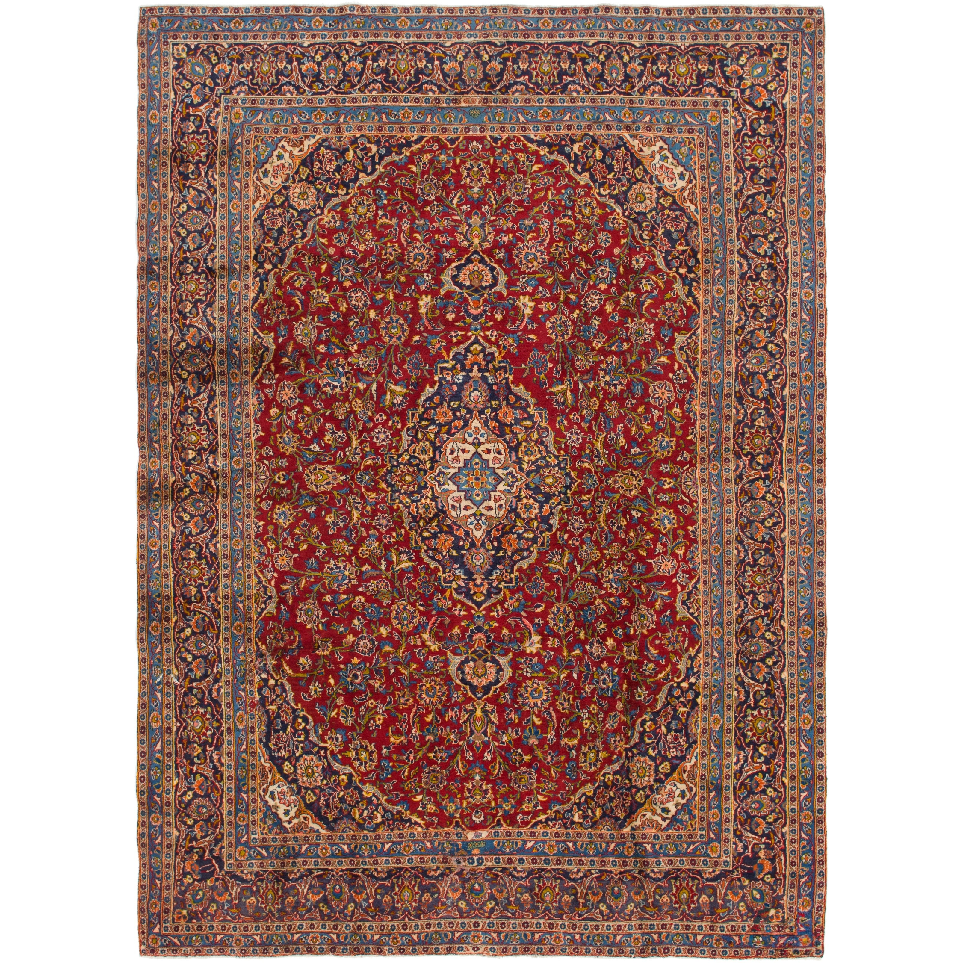 Hand Knotted Kashan Semi Antique Wool Area Rug - 9 4 x 13 (Red - 9 4 x 13)