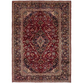 Hand Knotted Kashan Semi Antique Wool Area Rug - 8' 3 x 11'