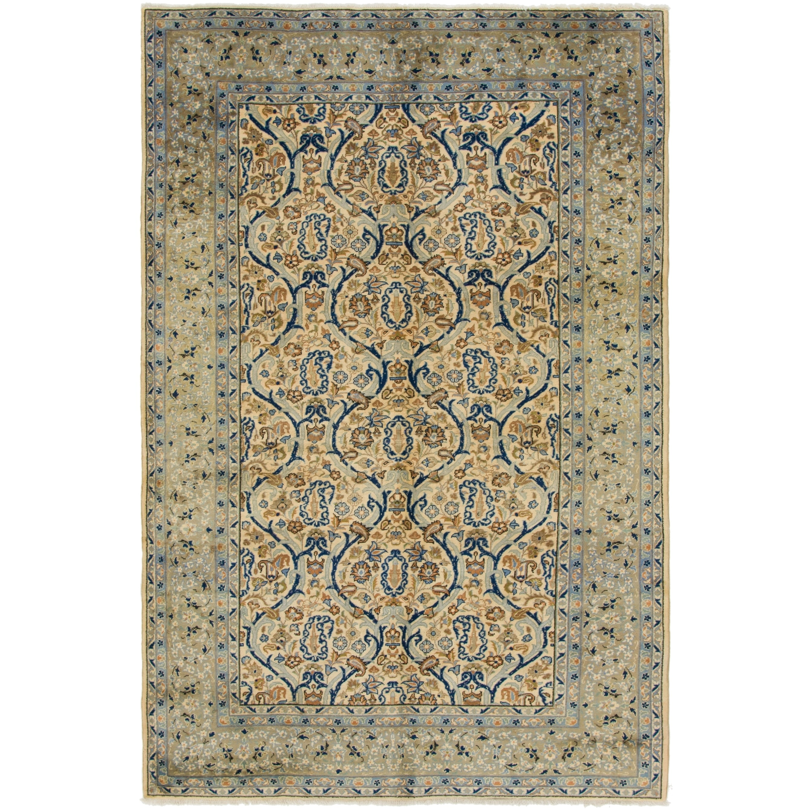 Hand Knotted Kashan Semi Antique Wool Area Rug - 6 6 x 10 (Ivory - 6 6 x 10)