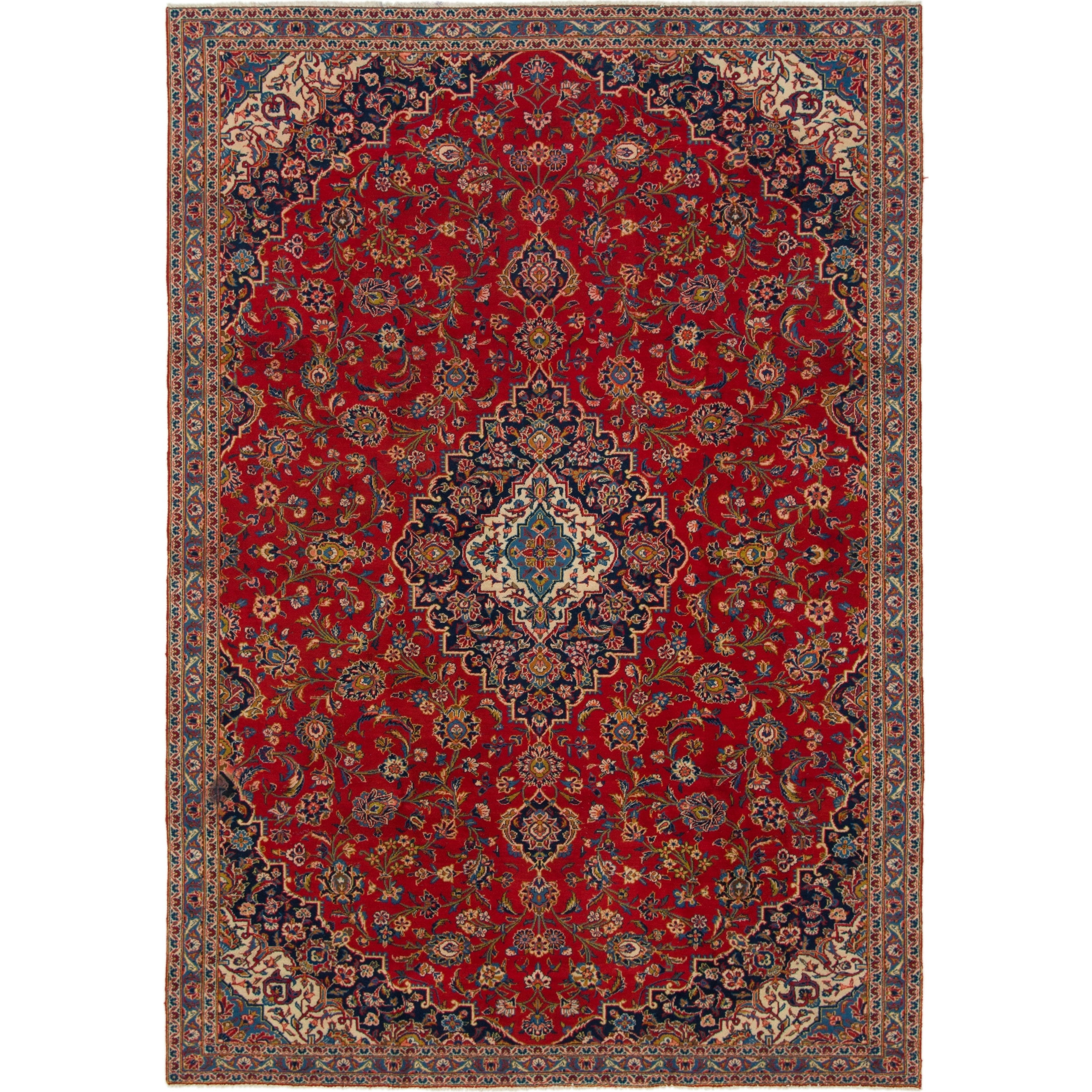 Hand Knotted Kashan Semi Antique Wool Area Rug - 7 5 x 10 8 (Red - 7 5 x 10 8)