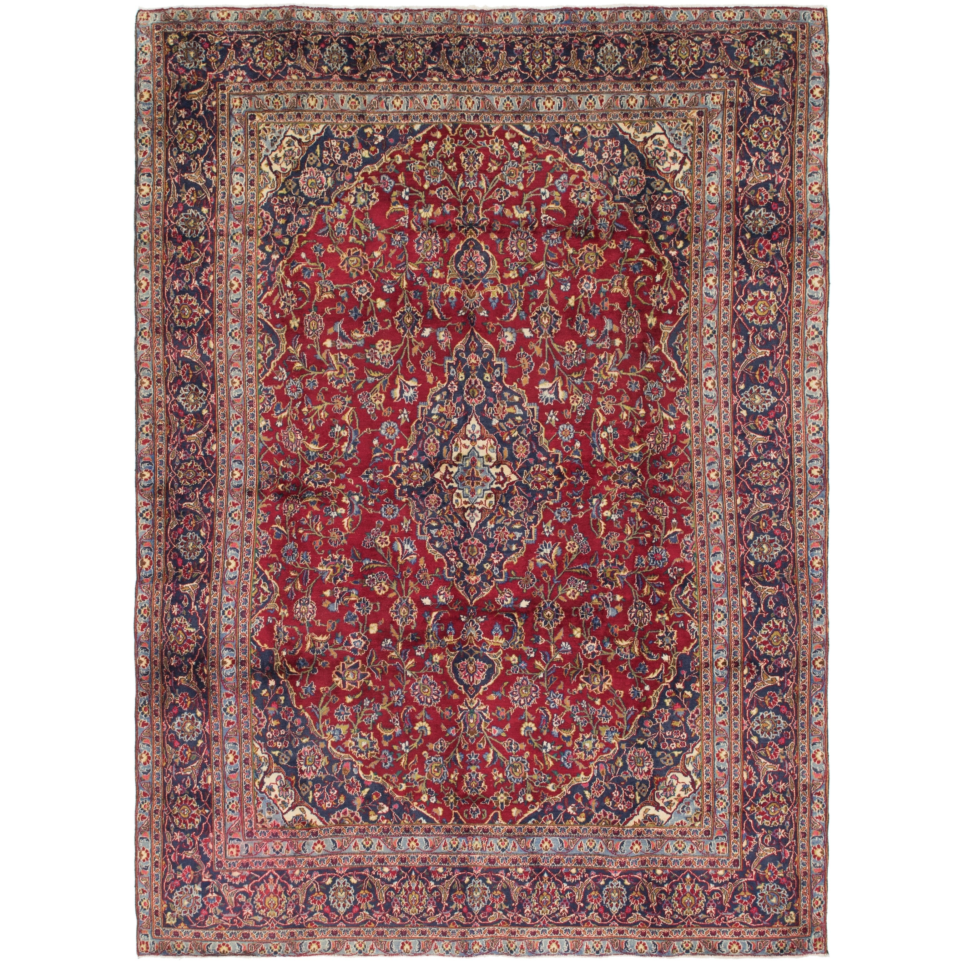 Hand Knotted Kashan Semi Antique Wool Area Rug - 8 10 x 12 4 (Red - 8 10 x 12 4)