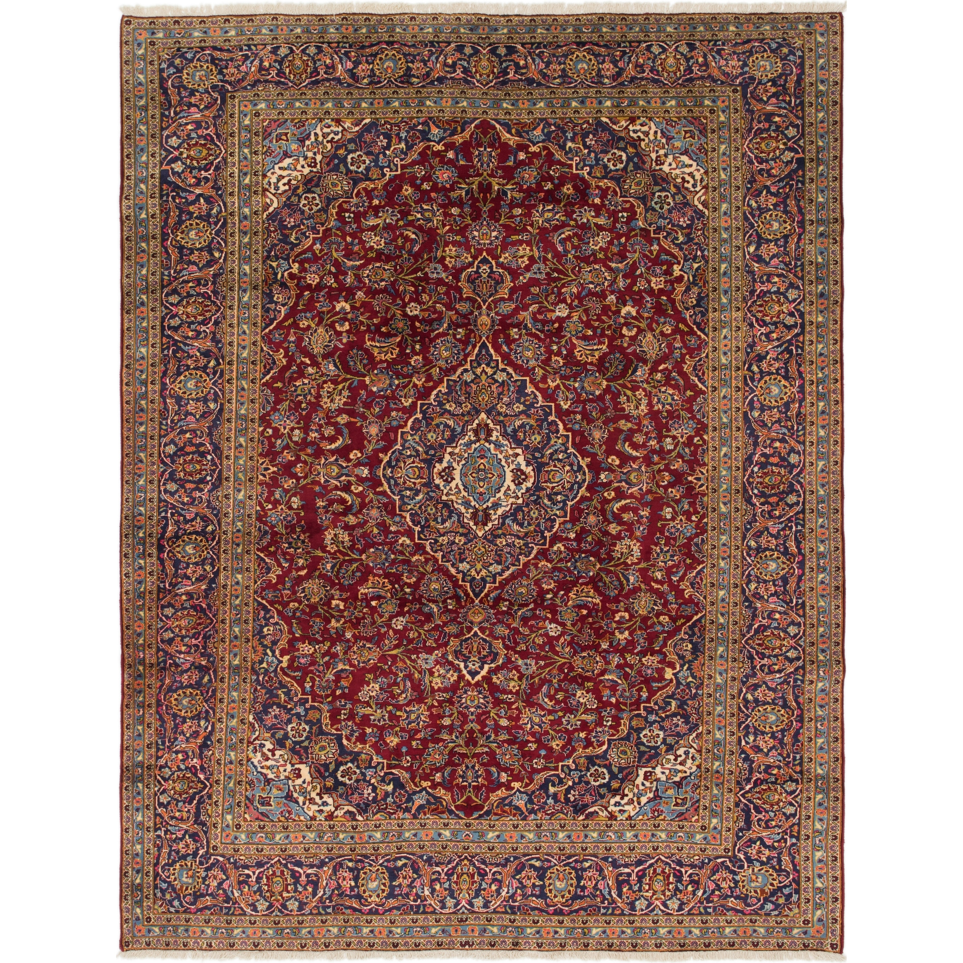 Hand Knotted Kashan Semi Antique Wool Area Rug - 9 8 x 12 8 (Red - 9 8 x 12 8)