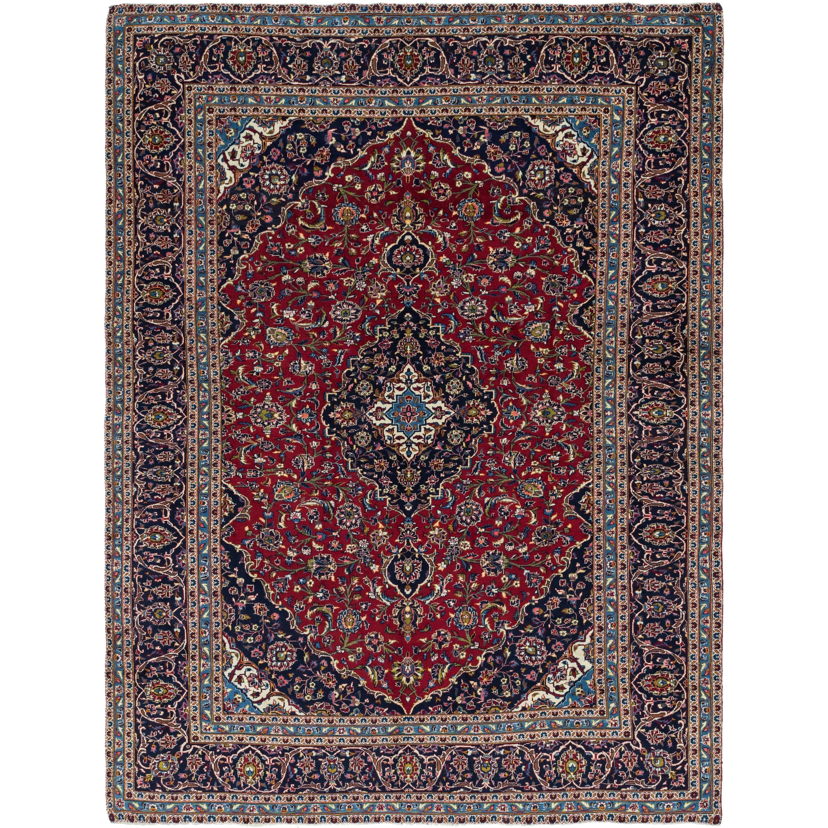 Hand Knotted Kashan Wool Area Rug - 9 5 x 12 7 (Red - 9 5 x 12 7)