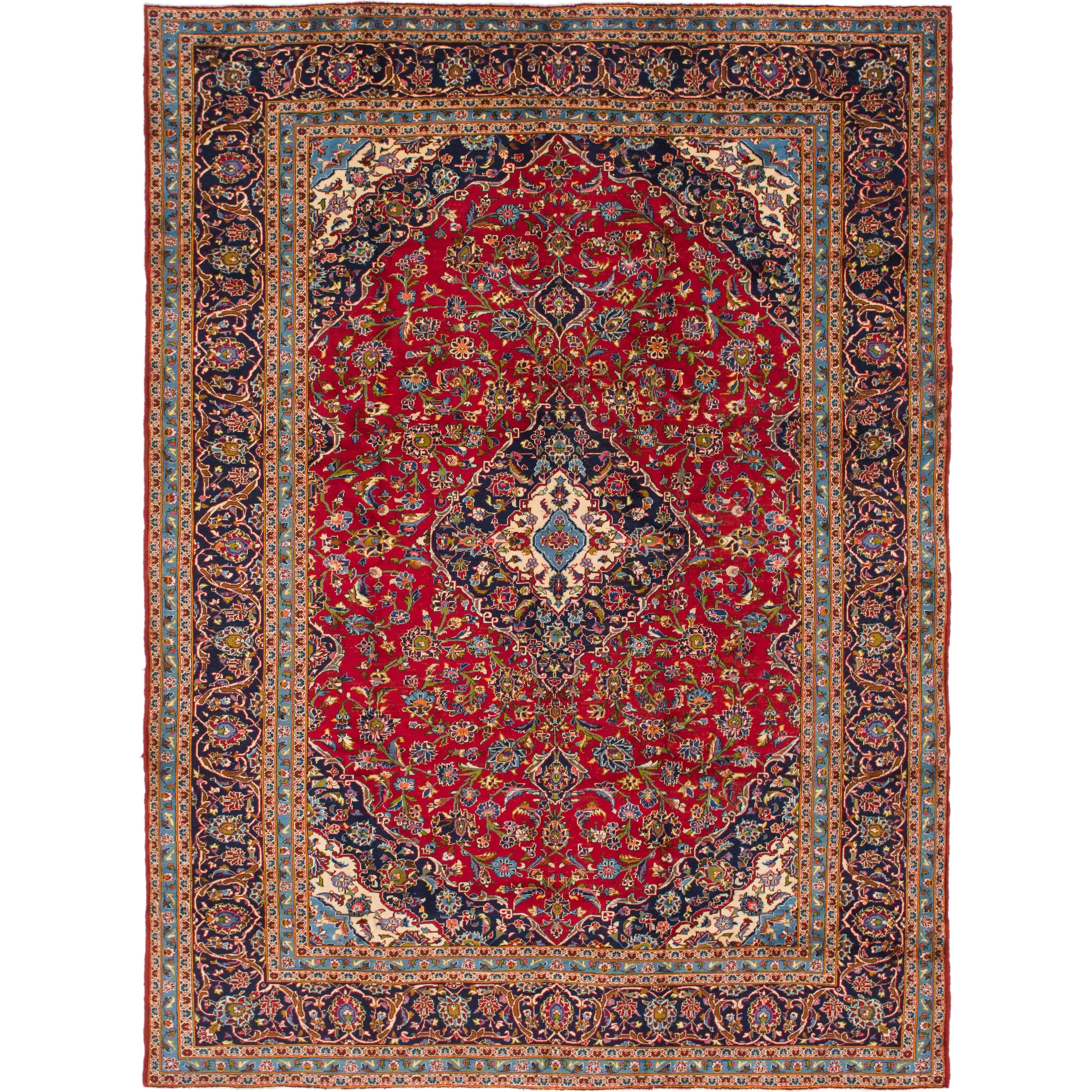Hand Knotted Kashan Semi Antique Wool Area Rug - 9 7 x 13 (Red - 9 7 x 13)