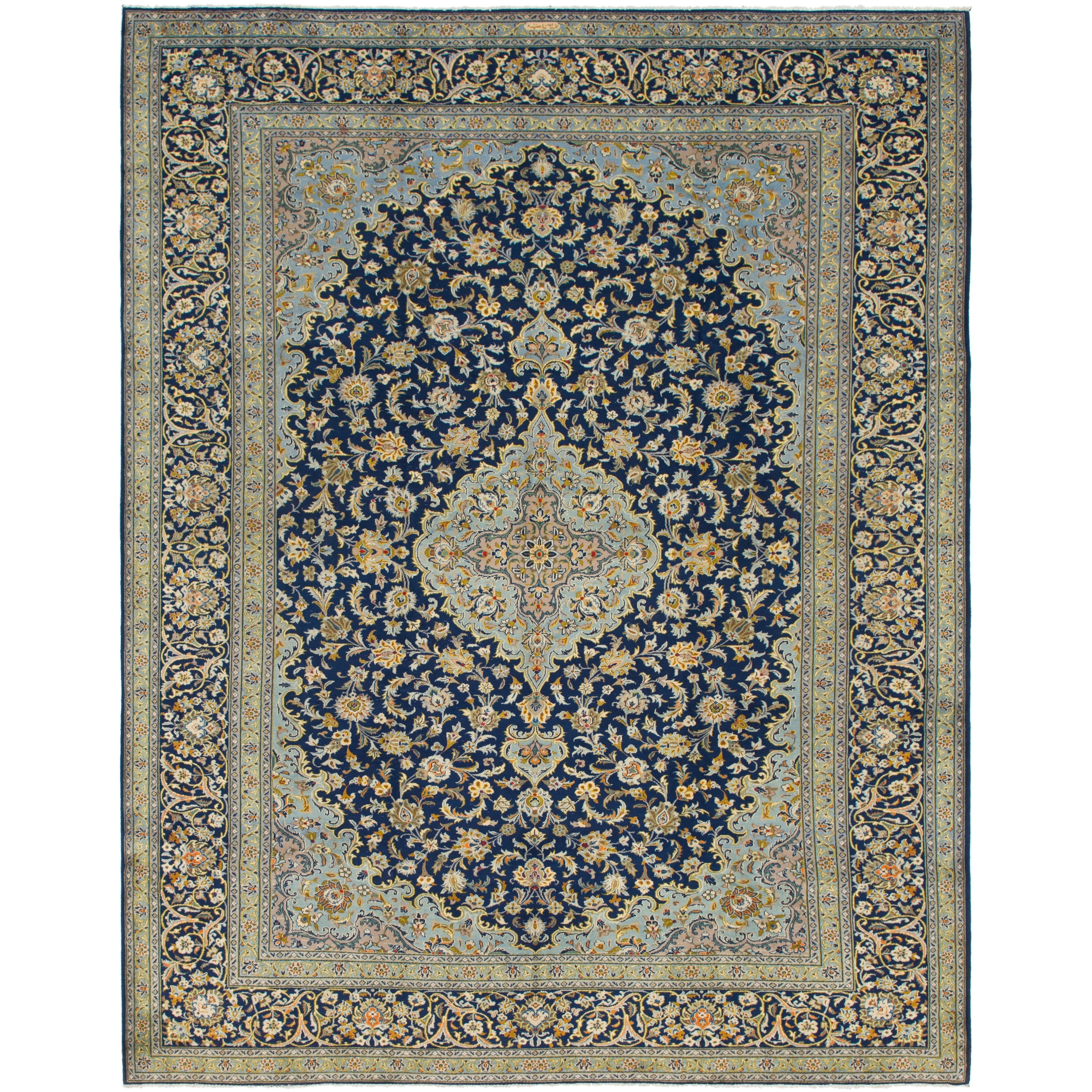Hand Knotted Kashan Semi Antique Wool Area Rug - 10 2 x 13 (Navy blue - 10 2 x 13)