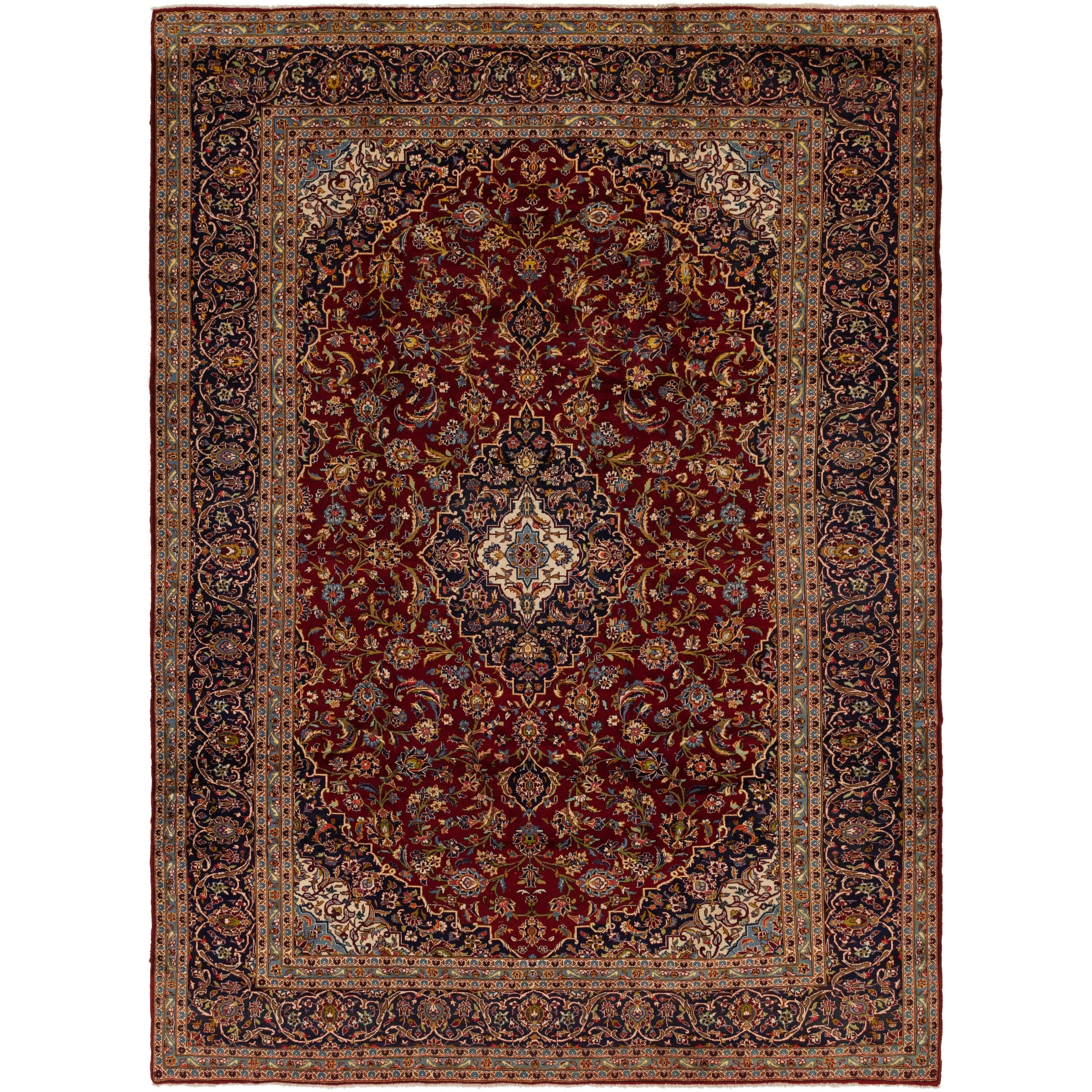 Hand Knotted Kashan Semi Antique Wool Area Rug - 9 6 x 13 3 (Red - 9 6 x 13 3)
