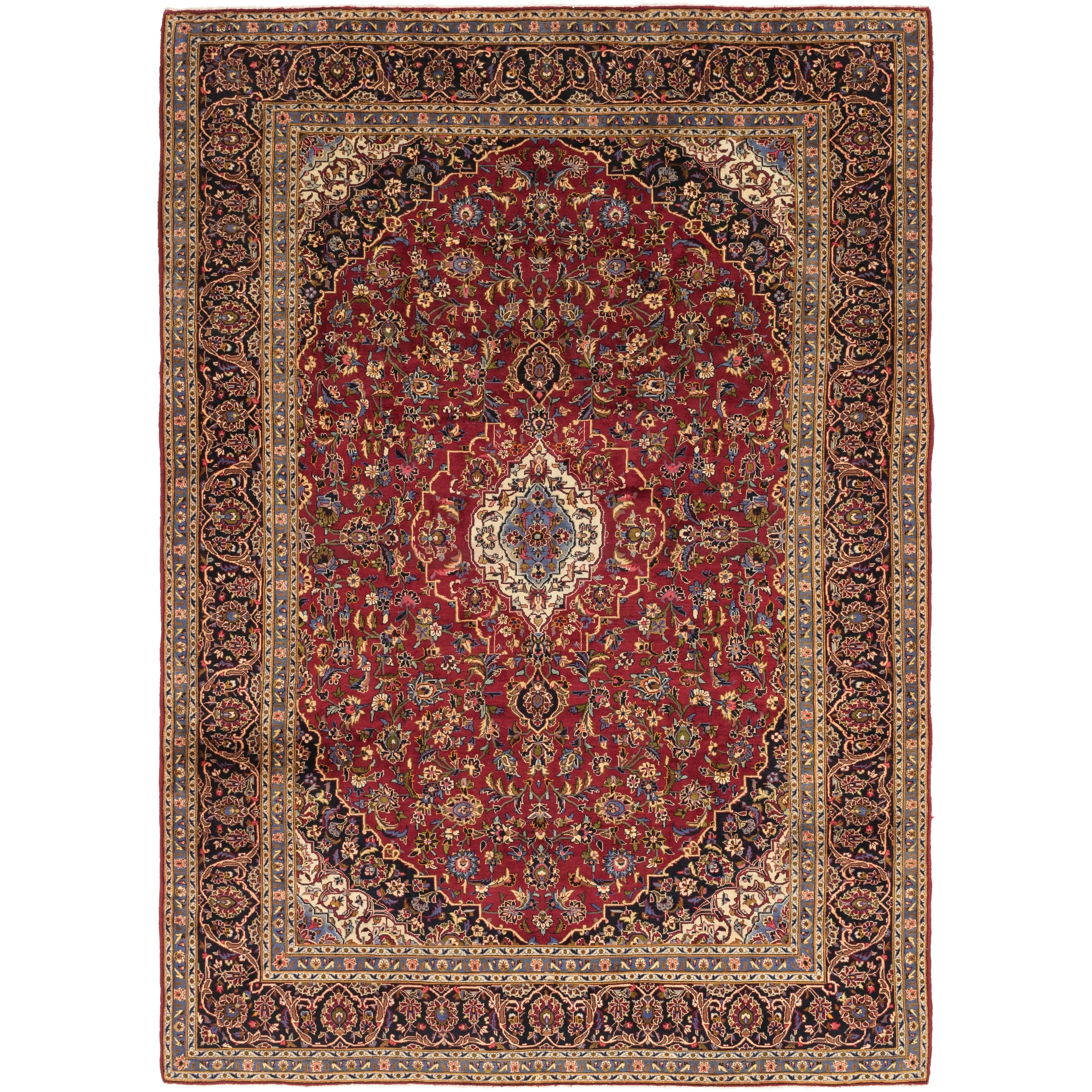 Hand Knotted Kashan Wool Area Rug - 9 2 x 13 2 (Red - 9 2 x 13 2)