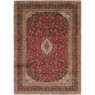 Hand Knotted Kashan Wool Area Rug - 9' 2 x 13' 2