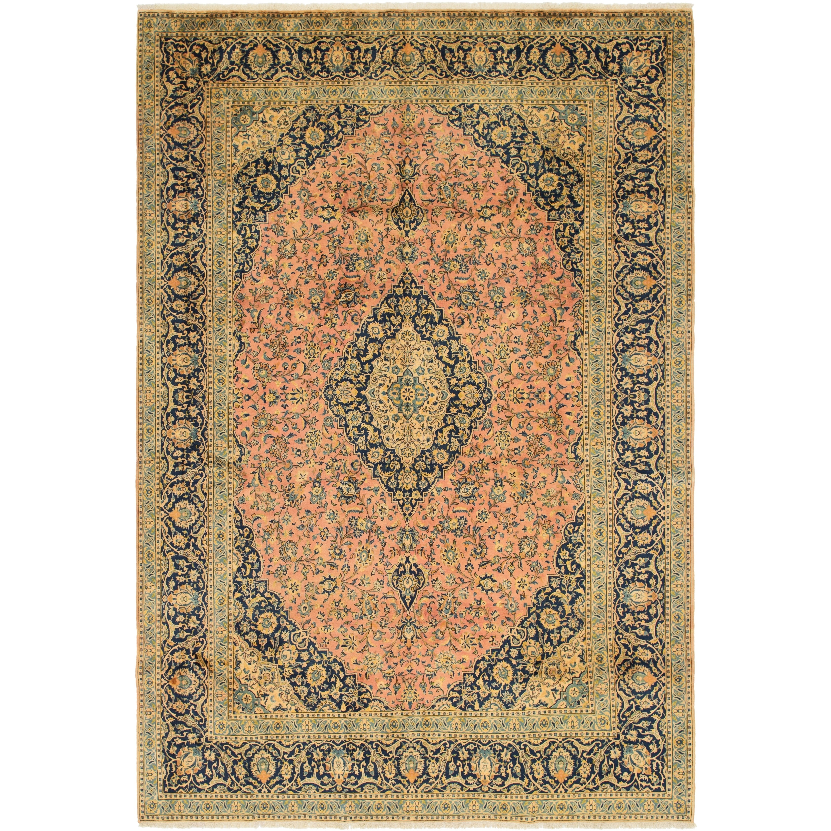 Hand Knotted Kashan Semi Antique Wool Area Rug - 9 6 x 13 10 (peach - 9 6 x 13 10)