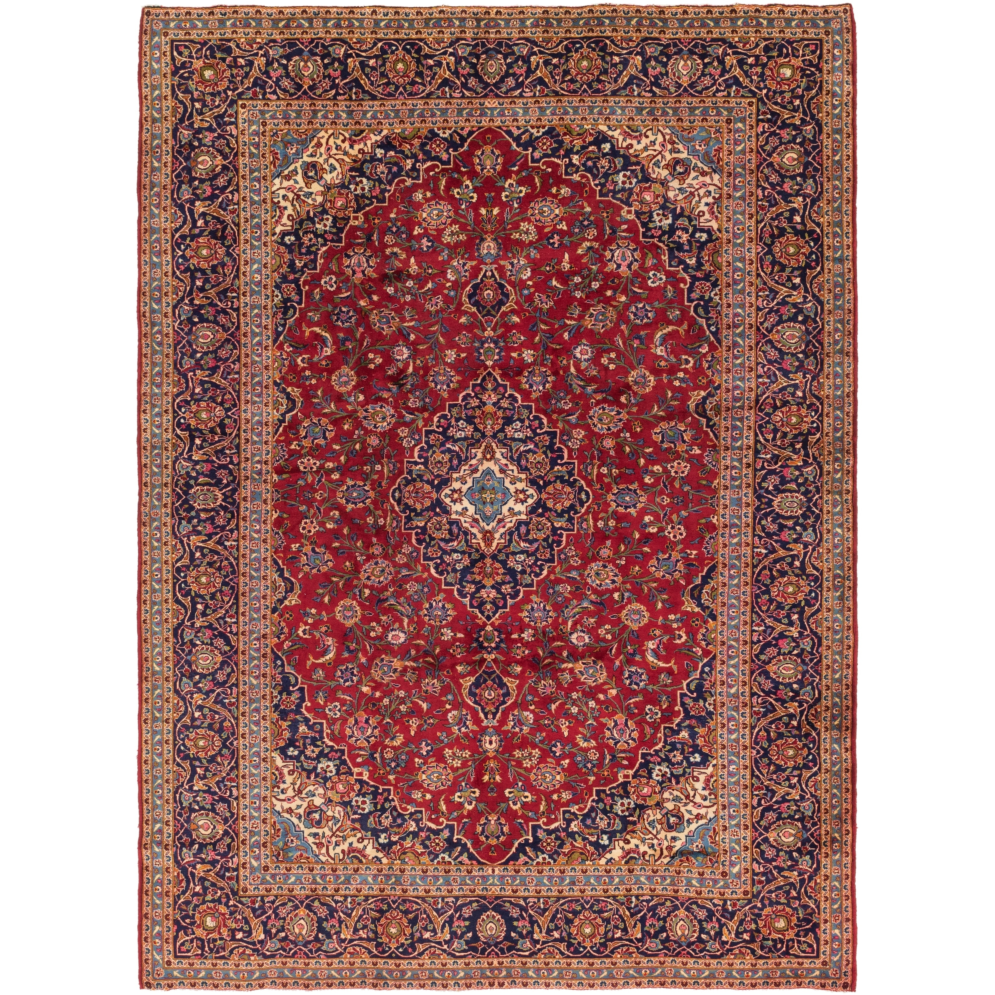Hand Knotted Kashan Wool Area Rug - 9 7 x 13 2 (Red - 9 7 x 13 2)