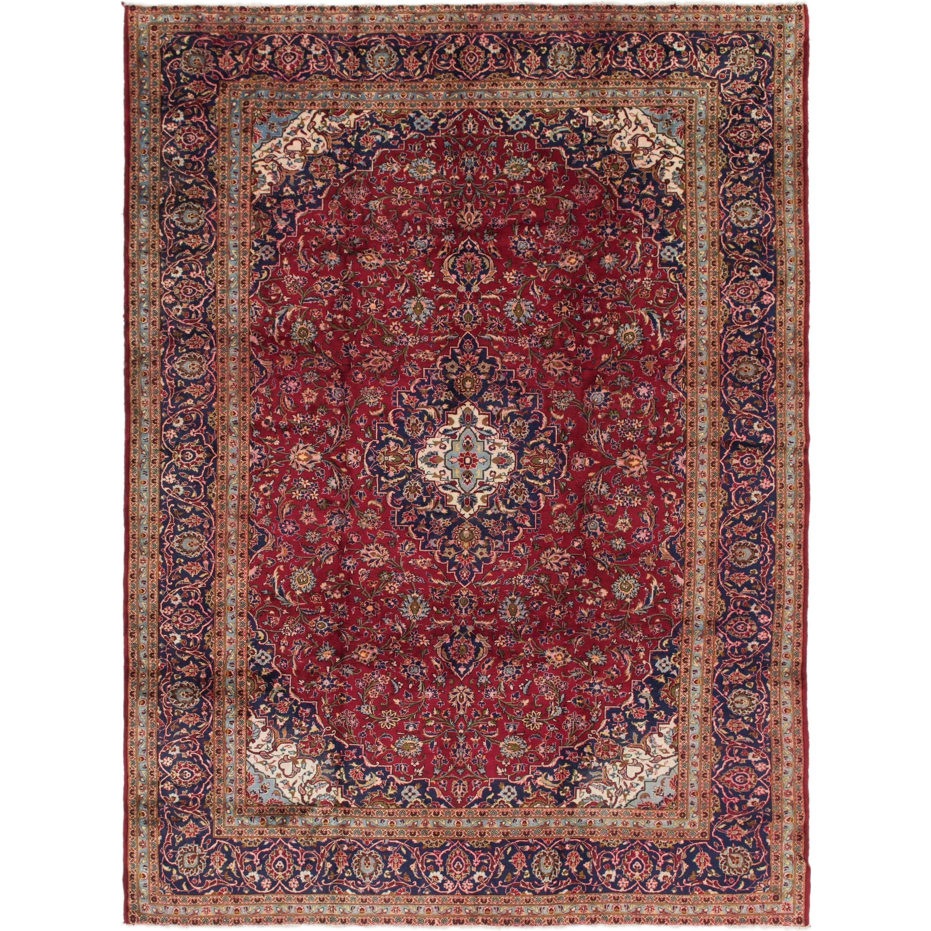 Hand Knotted Kashan Semi Antique Wool Area Rug - 9 6 x 12 10 (Red - 9 6 x 12 10)