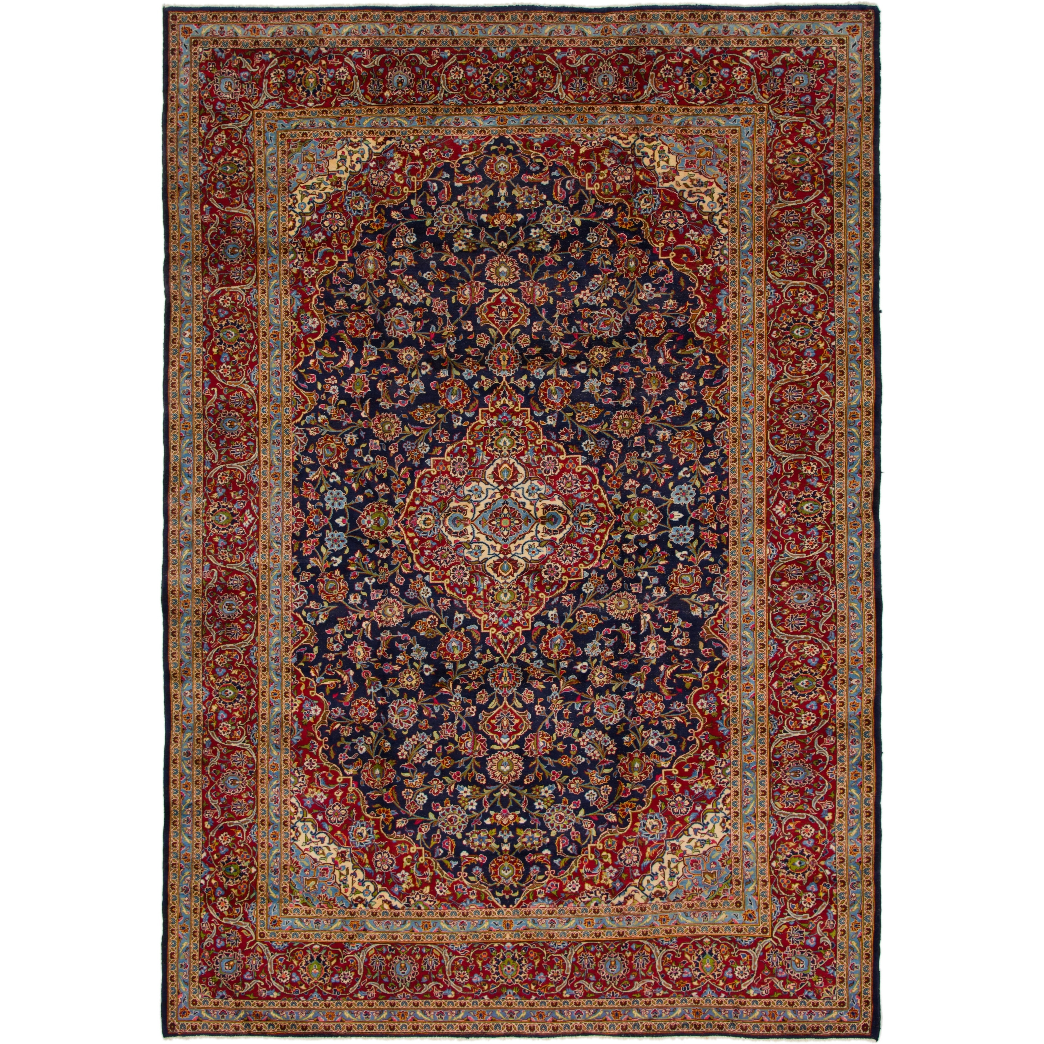 Hand Knotted Kashan Semi Antique Wool Area Rug - 9 6 x 13 6 (Navy blue - 9 6 x 13 6)