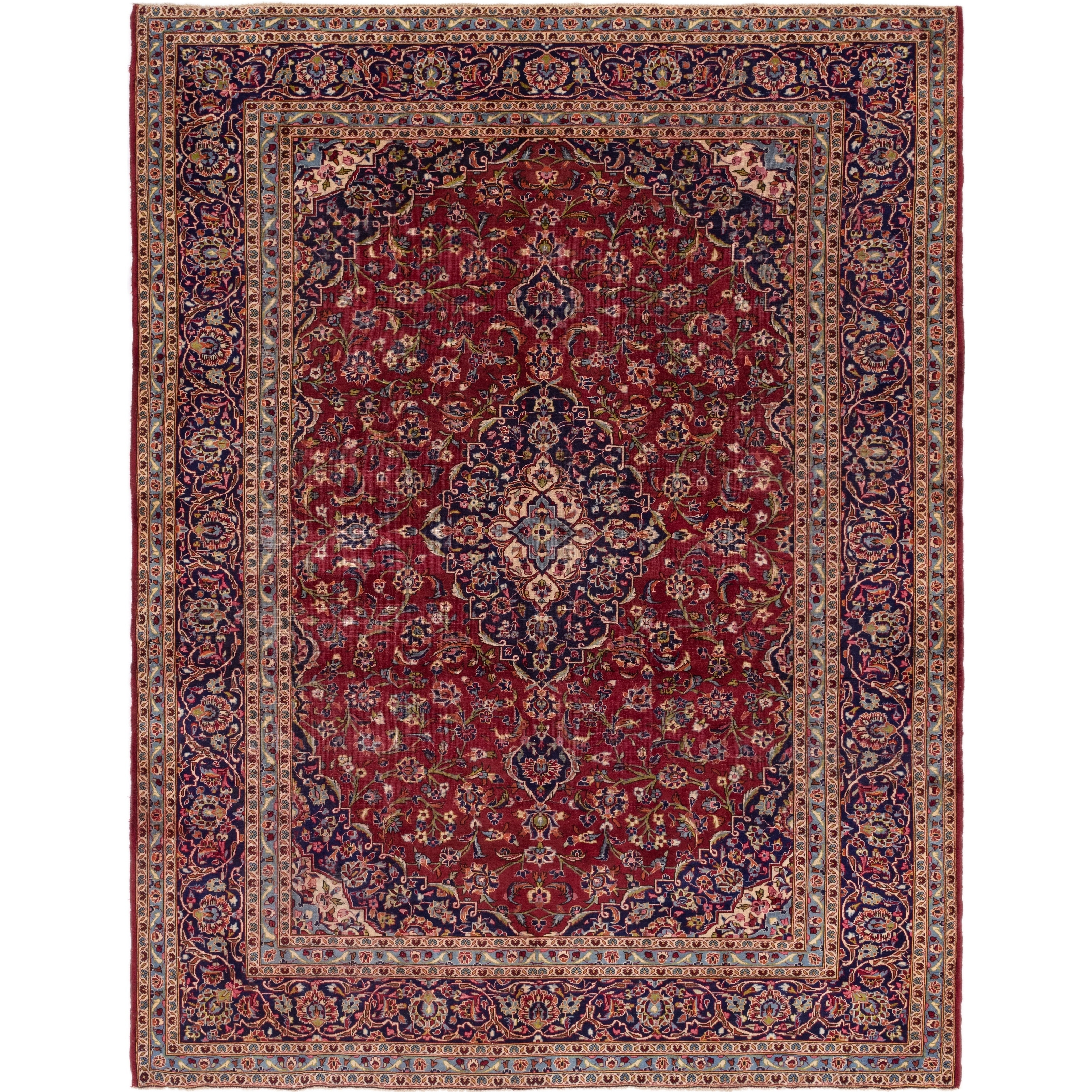 Hand Knotted Kashan Semi Antique Wool Area Rug - 9 6 x 12 5 (Red - 9 6 x 12 5)