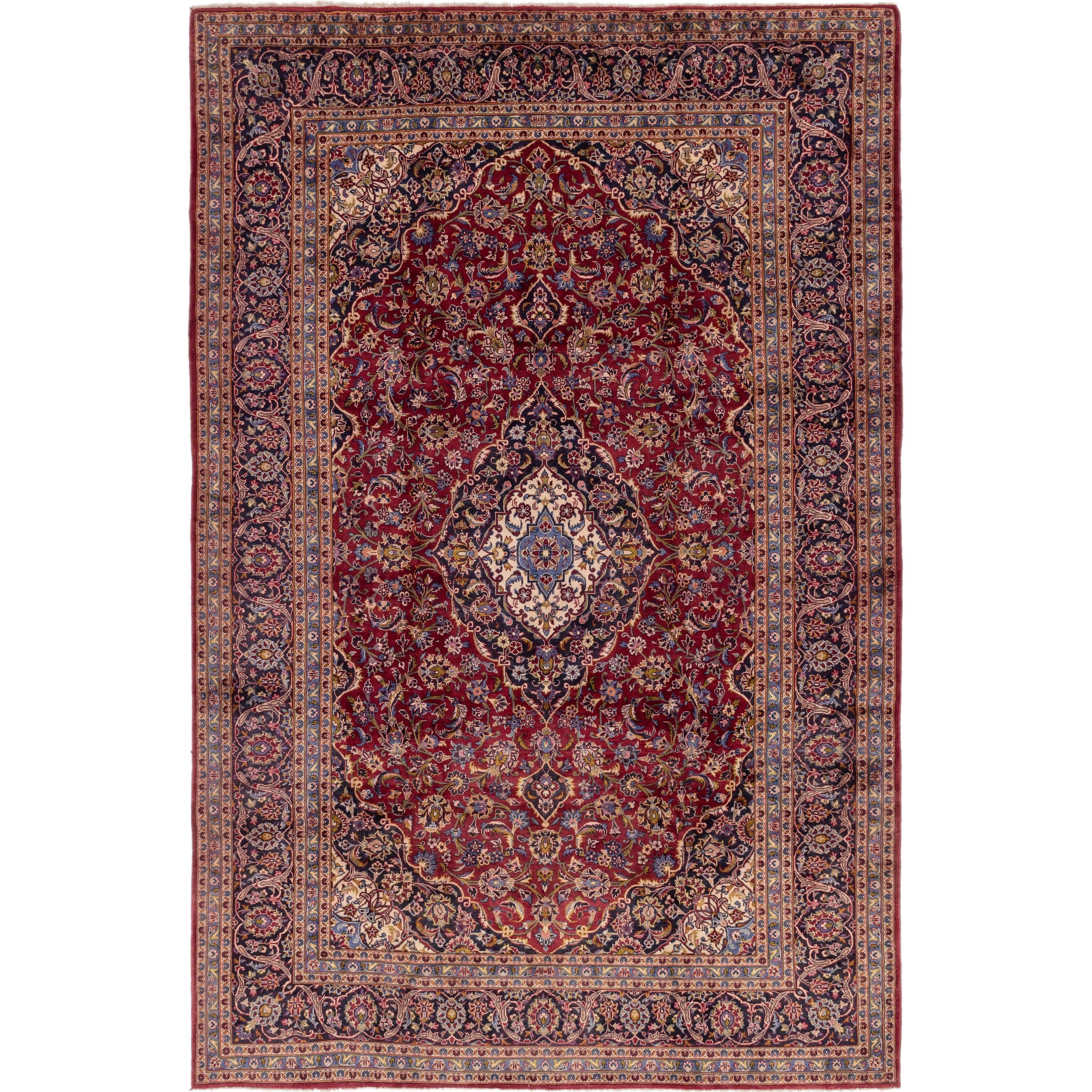 Hand Knotted Kashan Semi Antique Wool Area Rug - 9 6 x 14 (Red - 9 6 x 14)