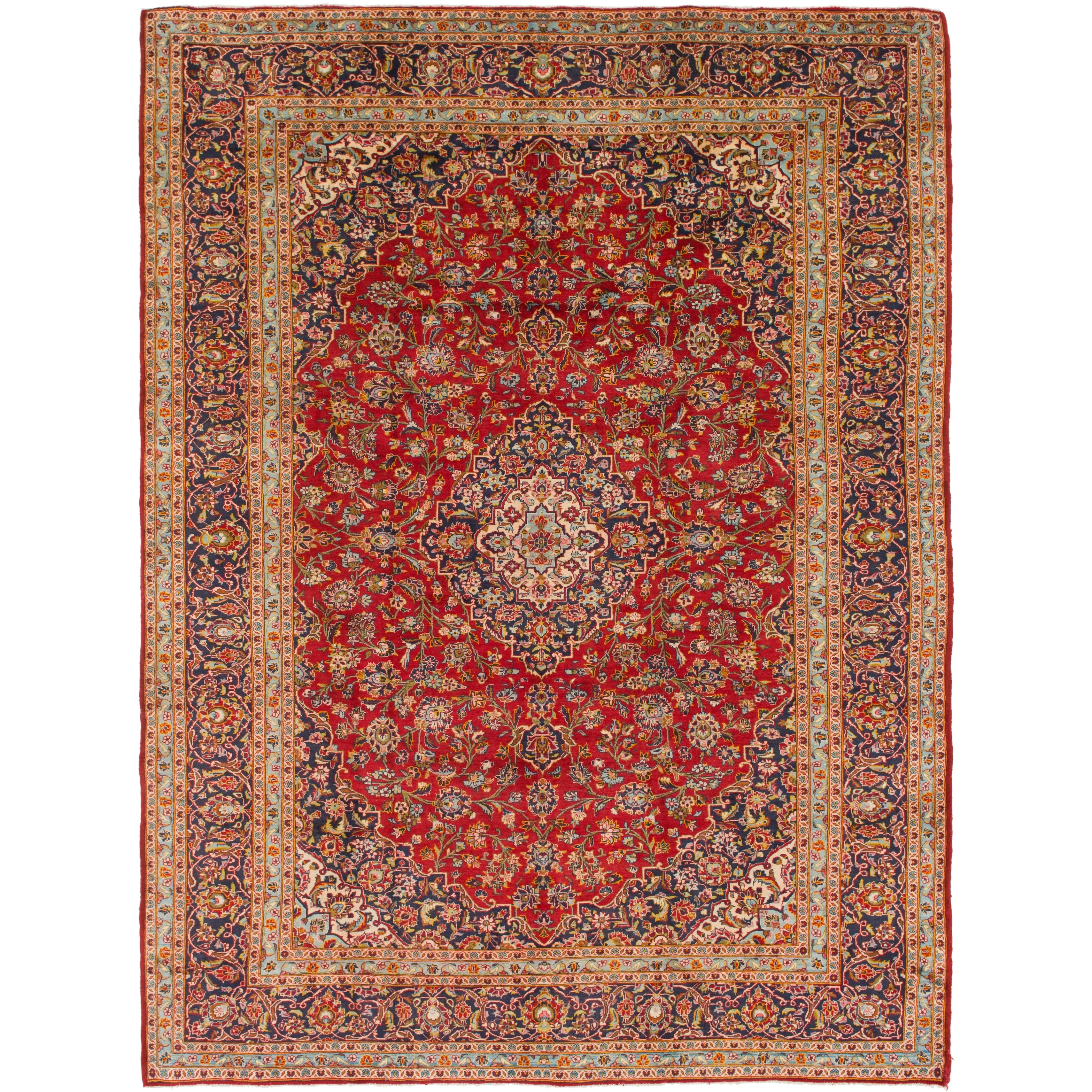 Hand Knotted Kashan Semi Antique Wool Area Rug - 9 10 x 13 3 (Red - 9 10 x 13 3)
