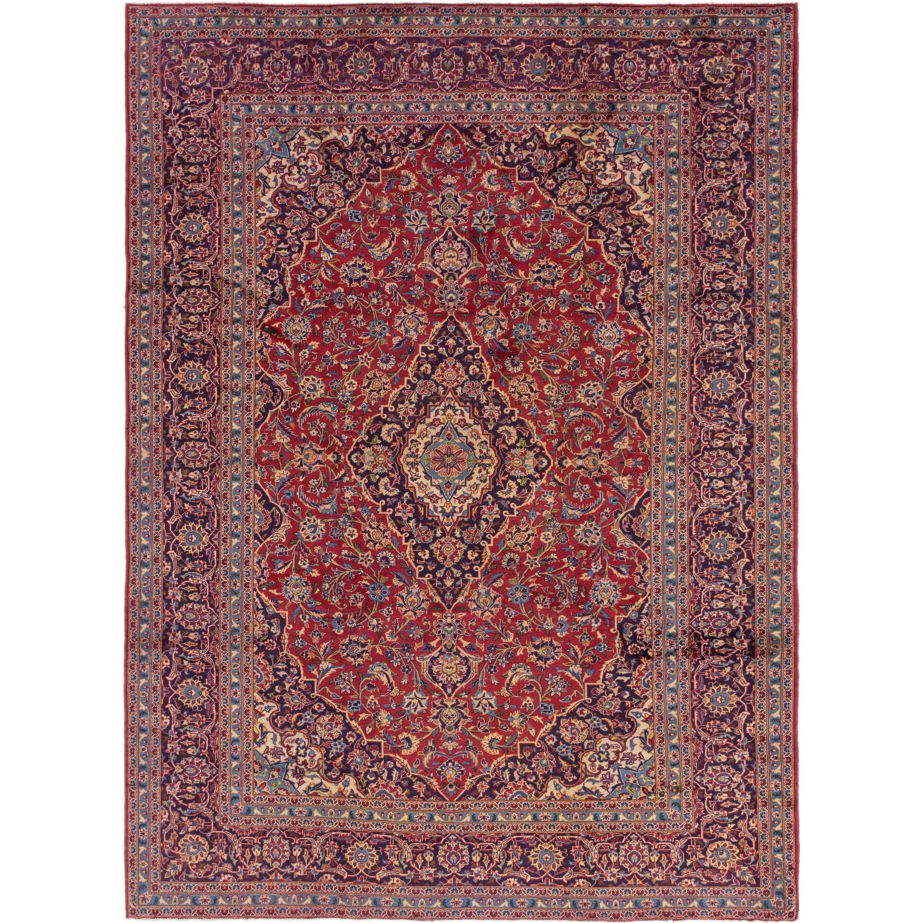 Hand Knotted Kashan Wool Area Rug - 9 3 x 12 7 (Red - 9 3 x 12 7)