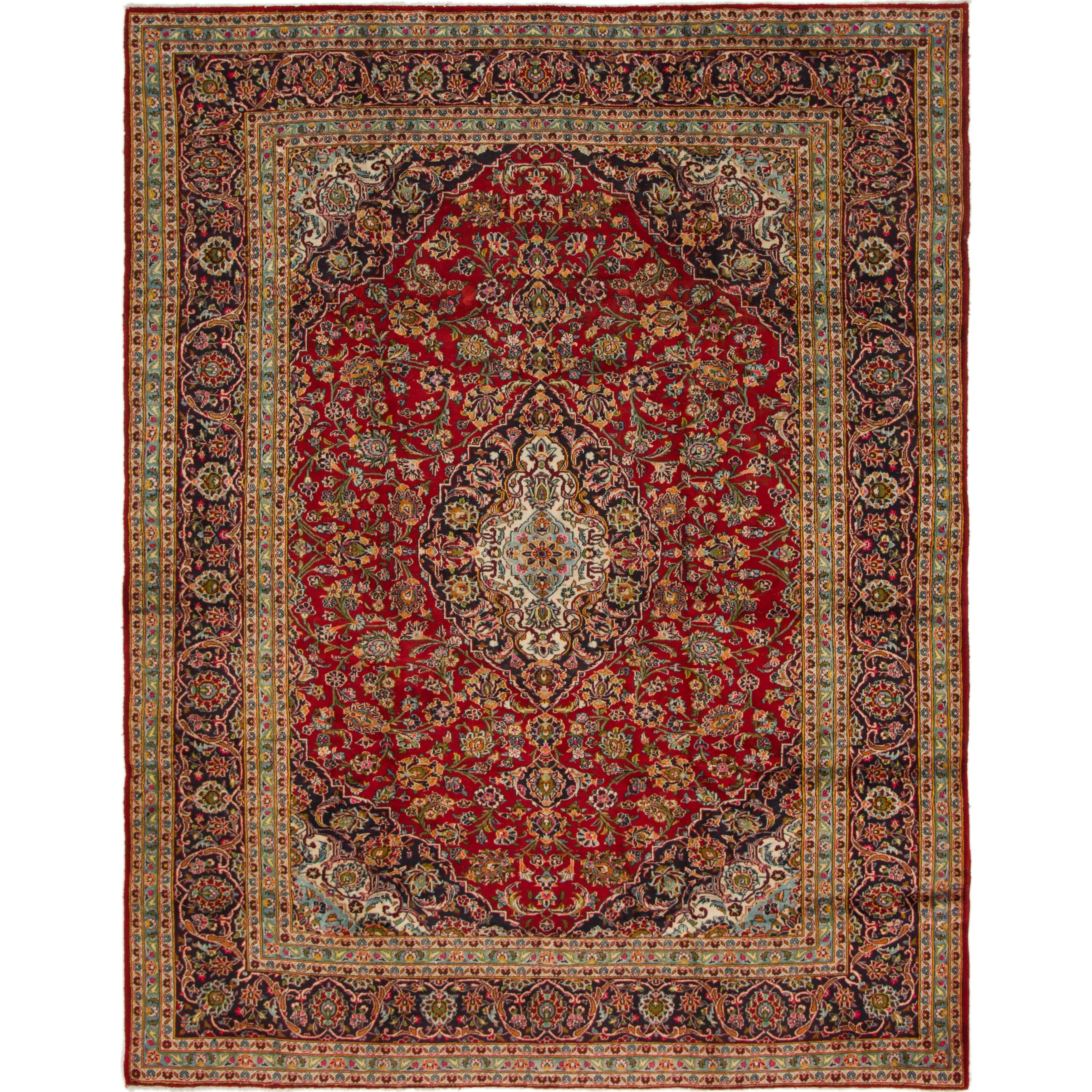 Hand Knotted Kashan Semi Antique Wool Area Rug - 9 6 x 12 3 (Red - 9 6 x 12 3)