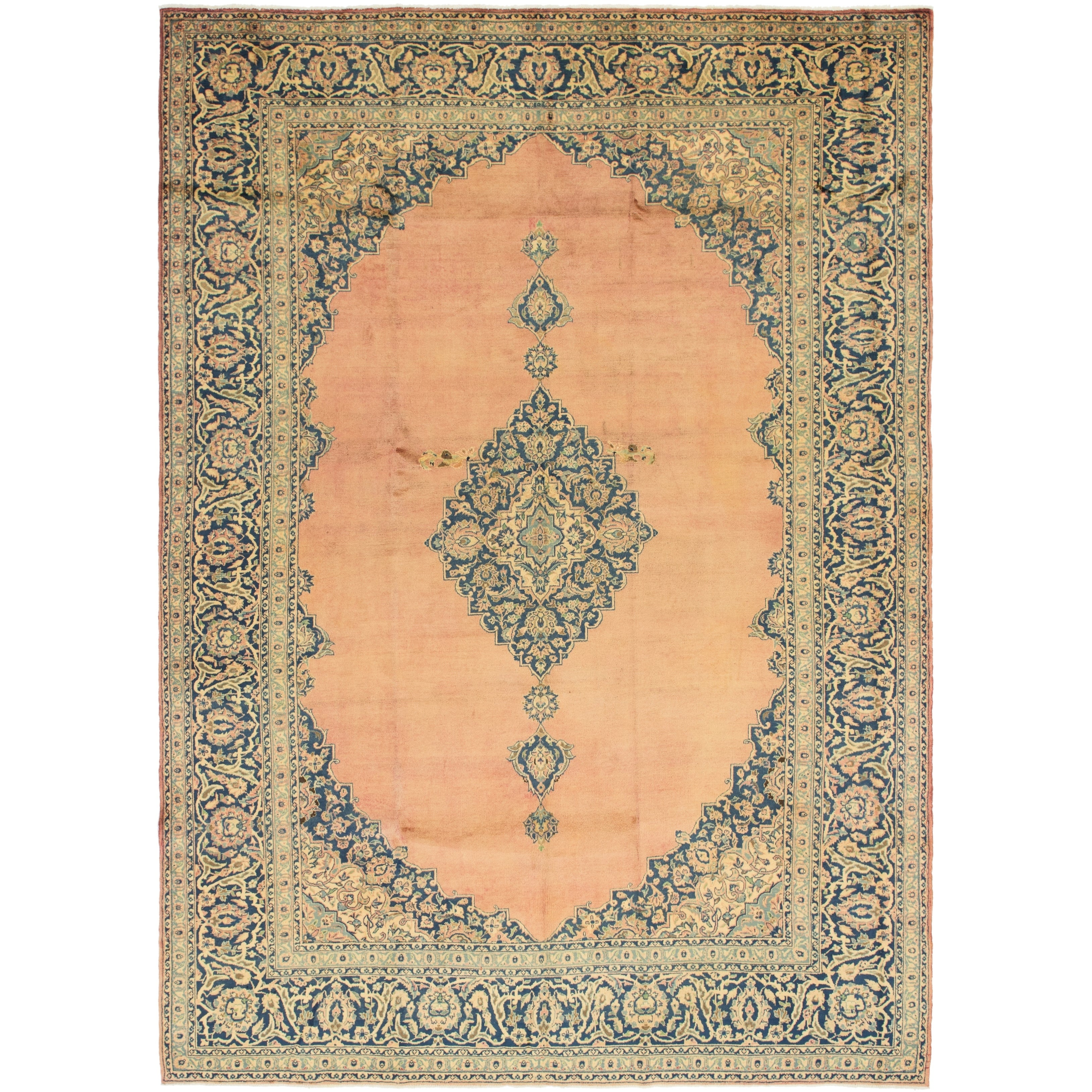 Hand Knotted Kashan Semi Antique Wool Area Rug - 9 5 x 13 2 (peach - 9 5 x 13 2)