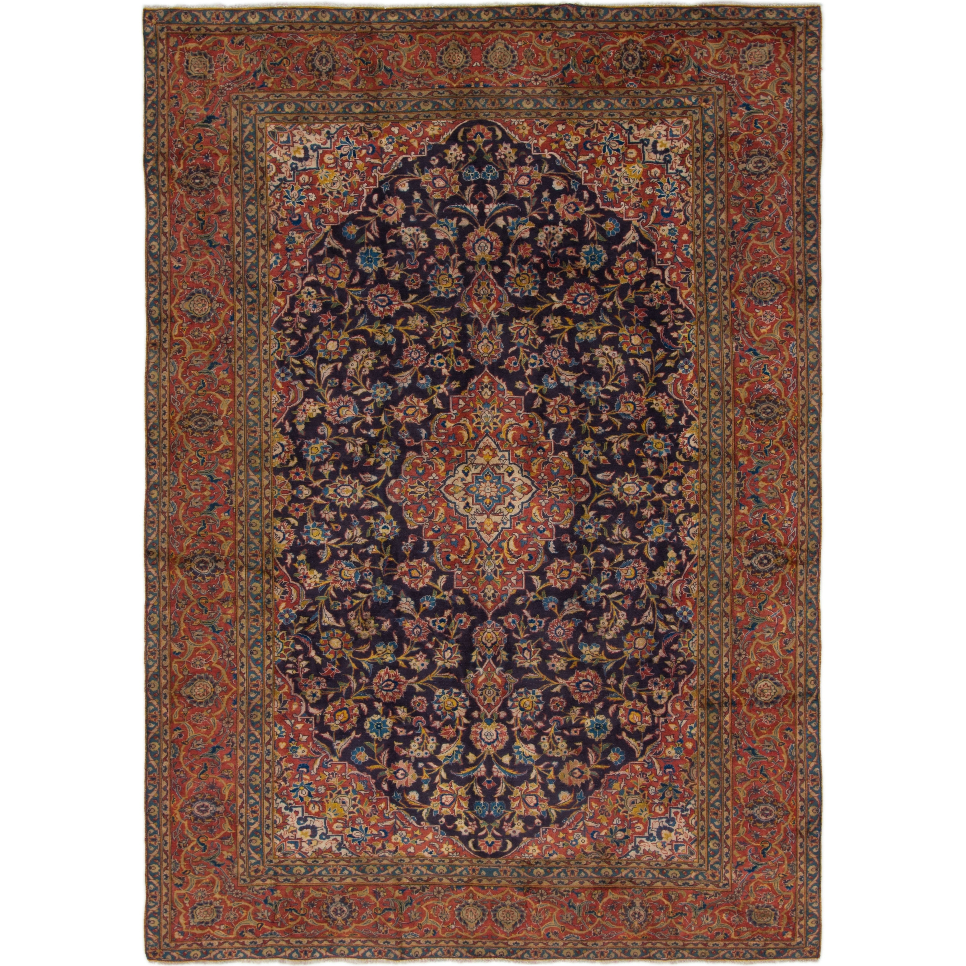 Hand Knotted Kashan Antique Wool Area Rug - 7 10 x 11 (Navy blue - 7 10 x 11)