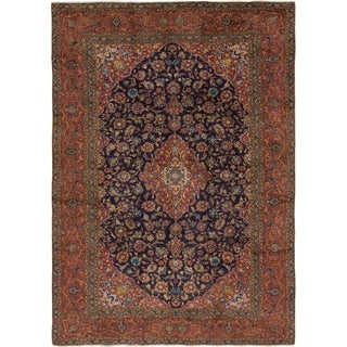 Hand Knotted Kashan Antique Wool Area Rug - 7' 10 x 11'