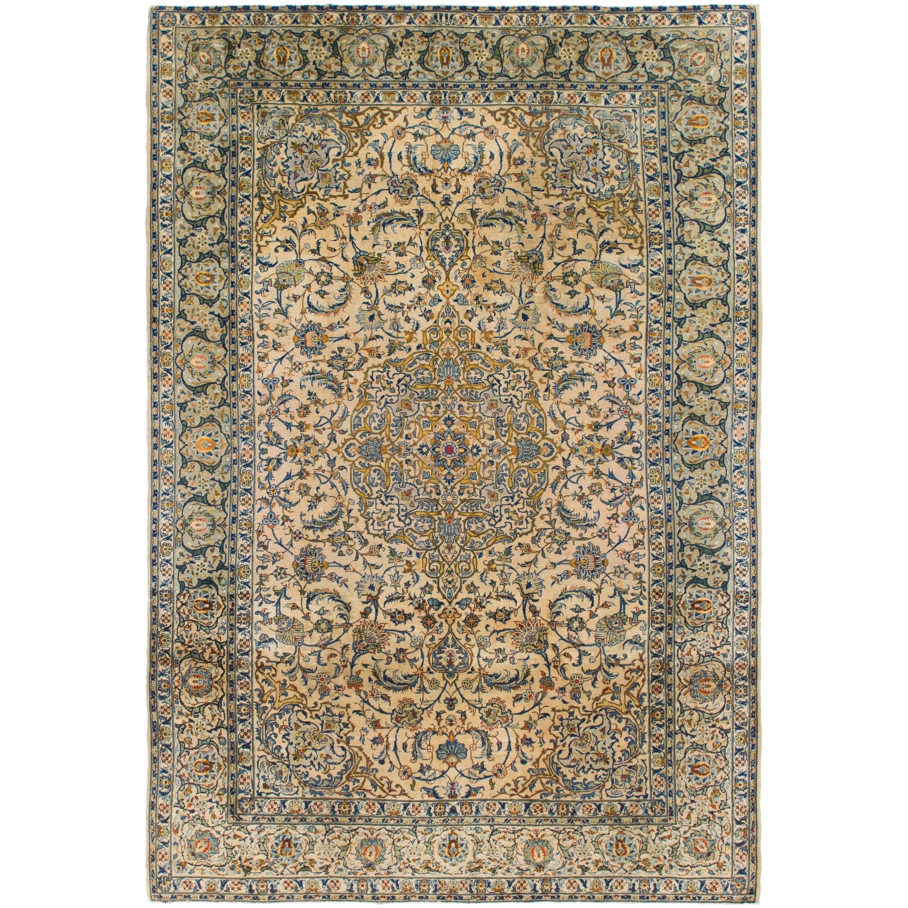 Hand Knotted Kashan Antique Wool Area Rug - 8 6 x 12 8 (Ivory - 8 6 x 12 8)
