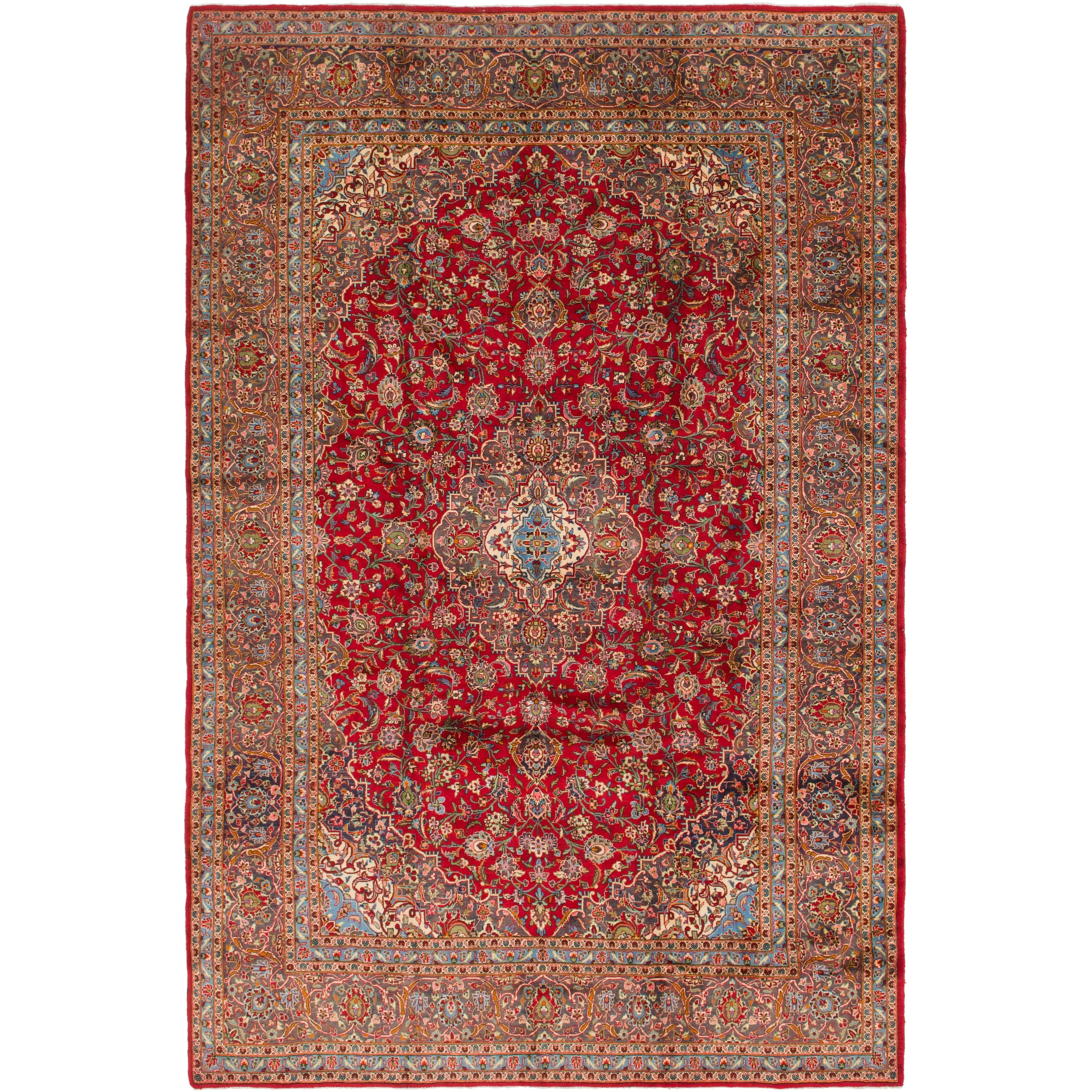 Hand Knotted Kashan Semi Antique Wool Area Rug - 9 6 x 14 7 (Red - 9 6 x 14 7)