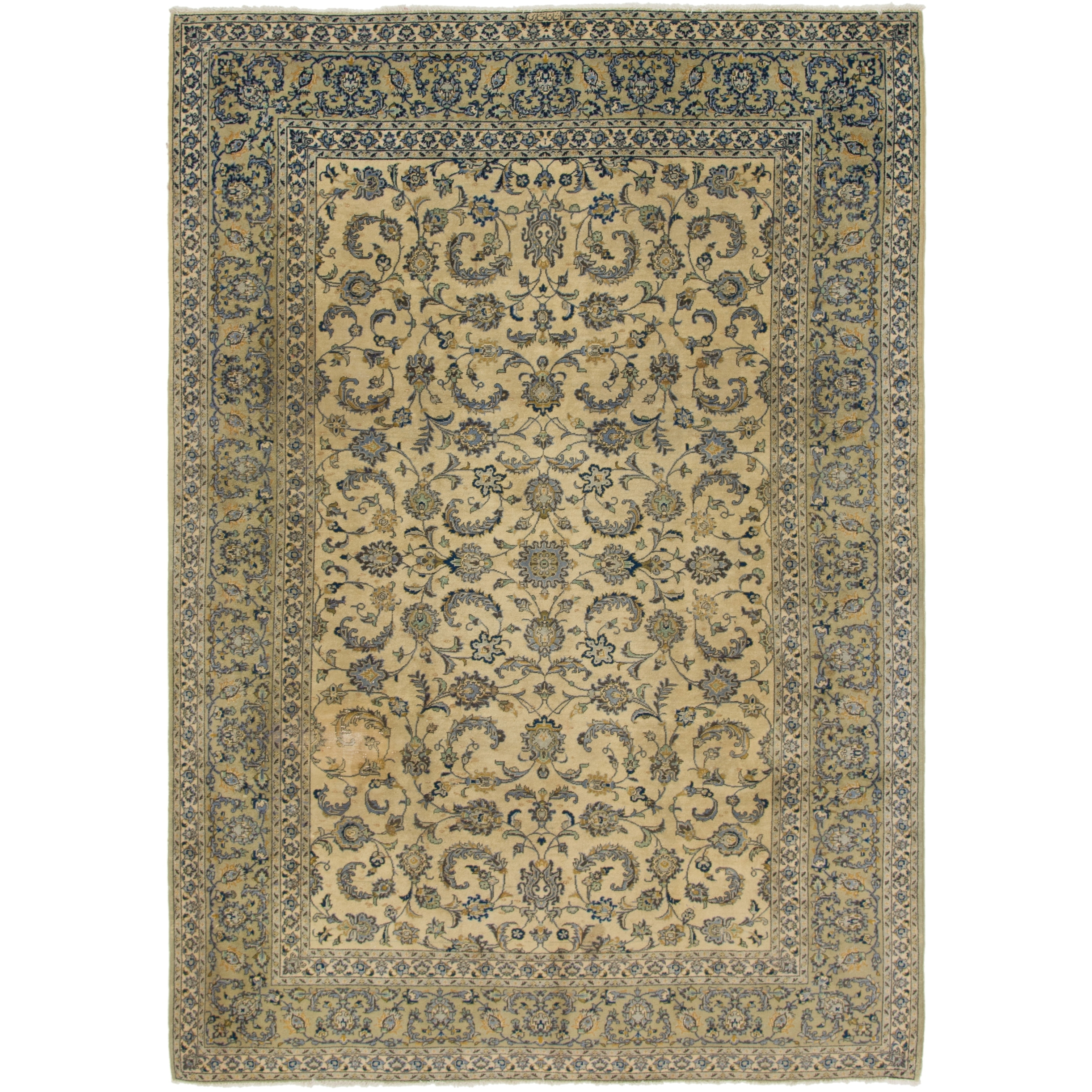 Hand Knotted Kashan Semi Antique Wool Area Rug - 7 6 x 10 8 (Ivory - 7 6 x 10 8)