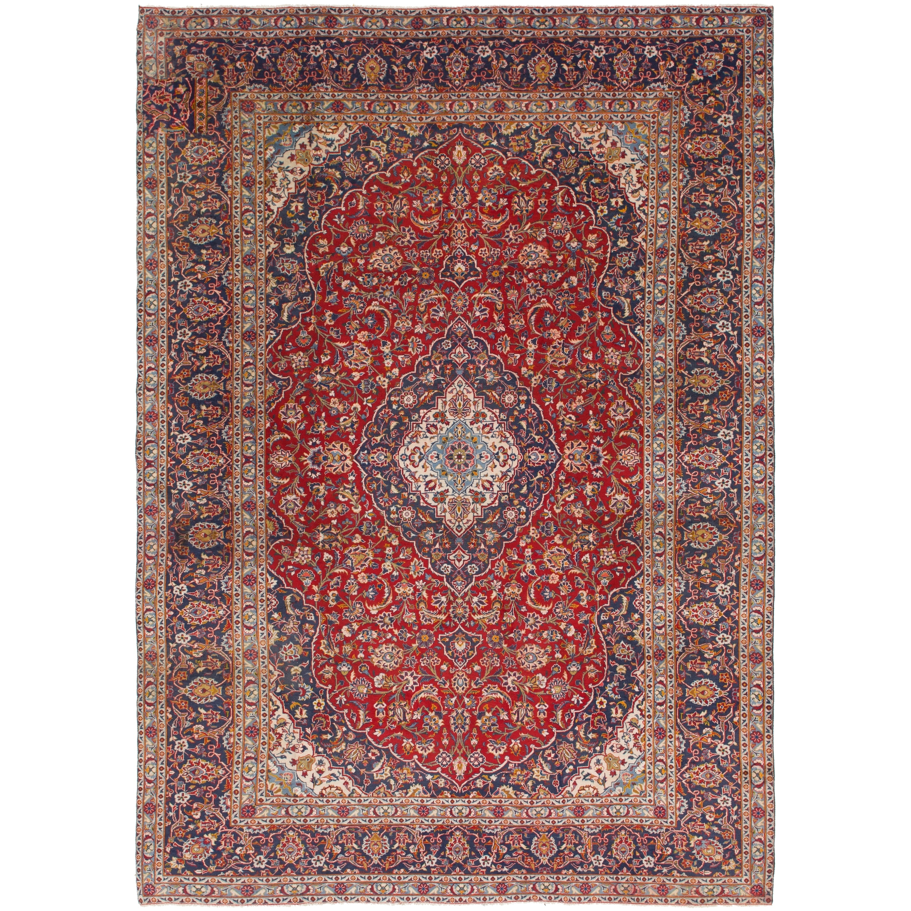 Hand Knotted Kashan Semi Antique Wool Area Rug - 9 2 x 13 2 (Red - 9 2 x 13 2)