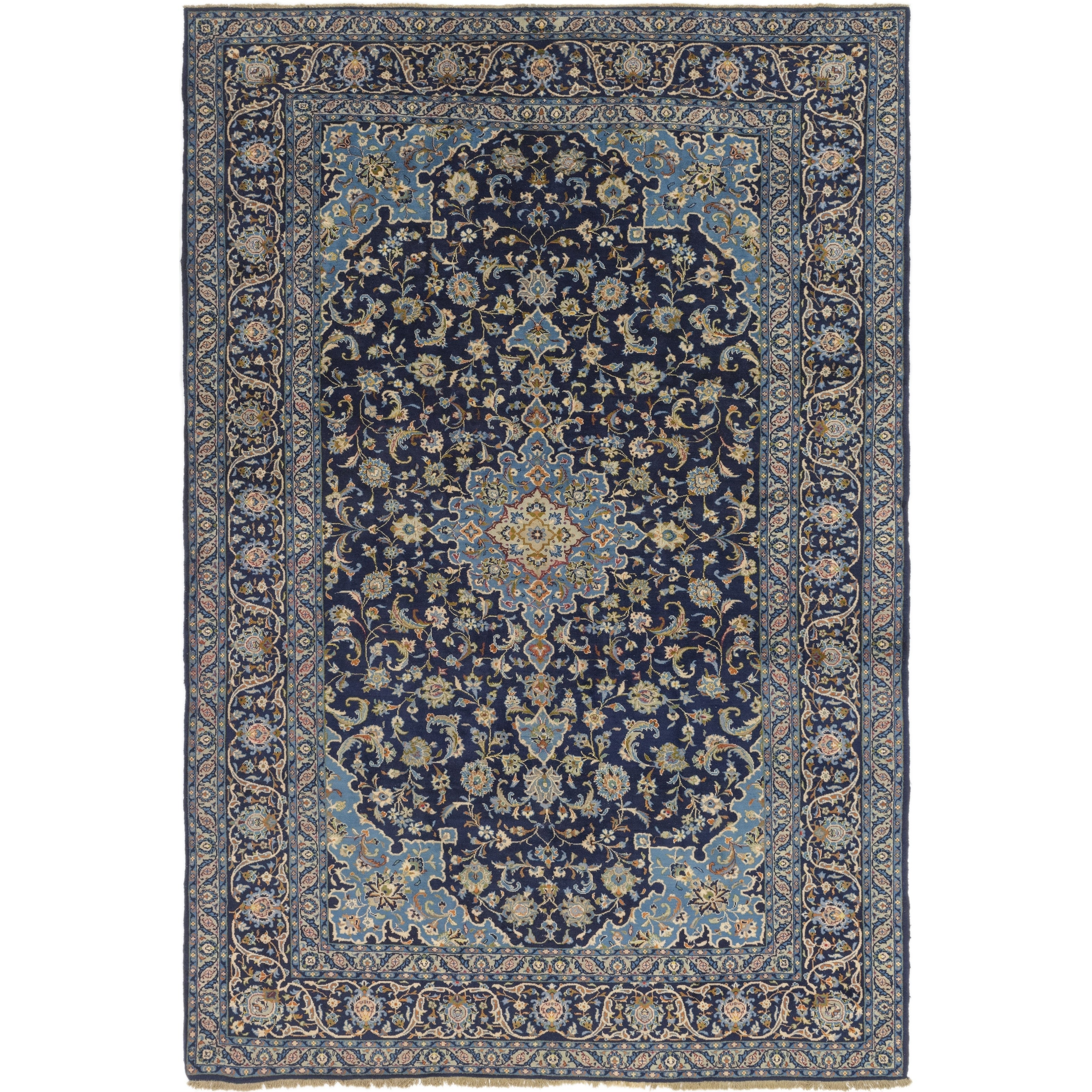 Hand Knotted Kashan Wool Area Rug - 9 5 x 14 (Navy blue - 9 5 x 14)