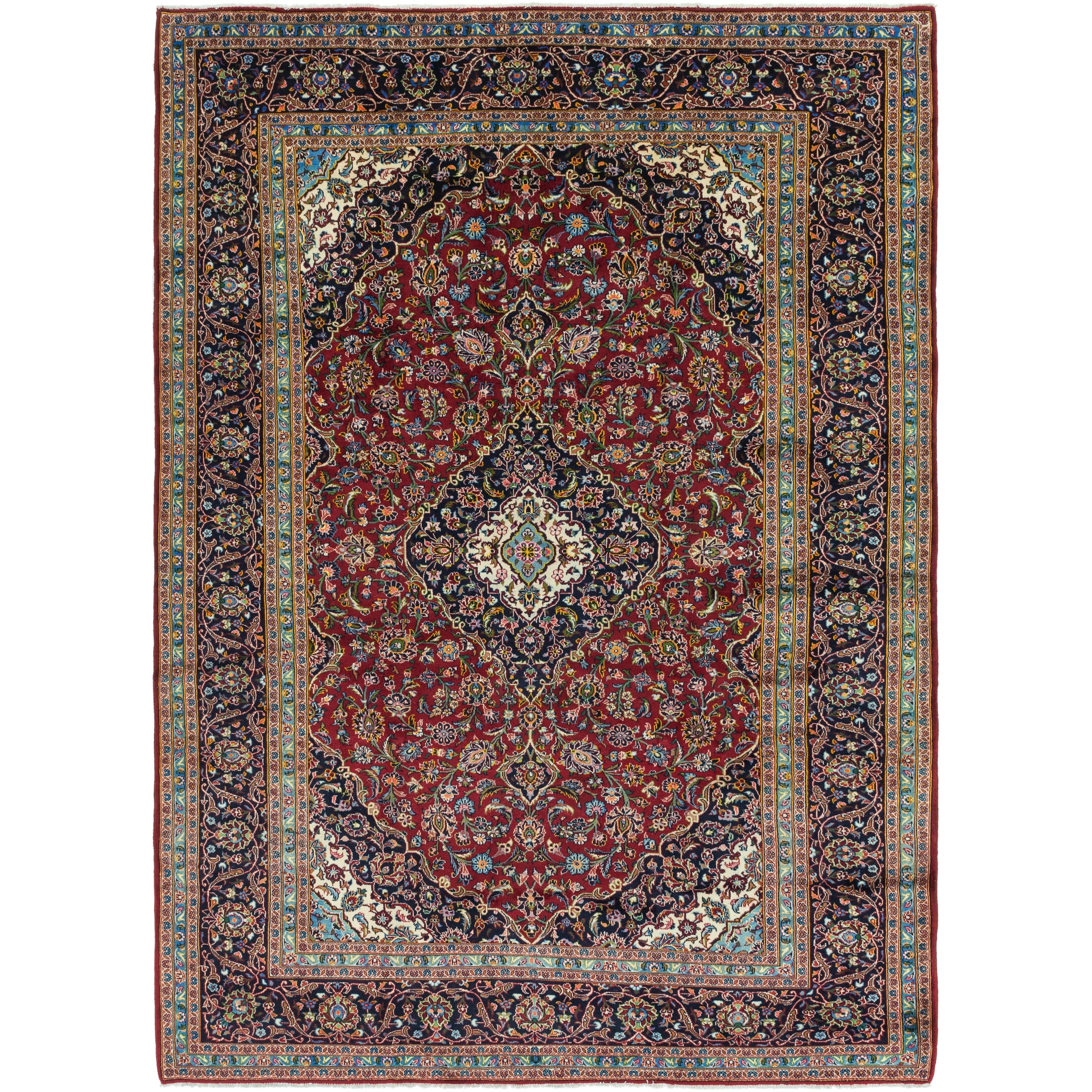 Hand Knotted Kashan Wool Area Rug - 9 9 x 13 3 (Red - 9 9 x 13 3)
